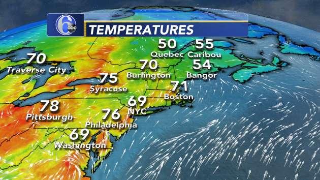 Current Temperatures Northeast US Abccom - Current temperature map of us
