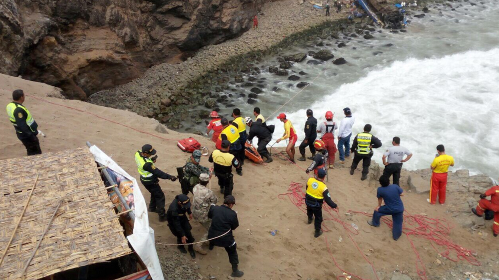 "<div class=""meta image-caption""><div class=""origin-logo origin-image none""><span>none</span></div><span class=""caption-text"">Dozens of passengers have been reported dead from a bus that fell off a cliff after it was hit by a tractor-trailer rig in Pasamayo, Peru. (@naval_peru/Twitter)</span></div>"
