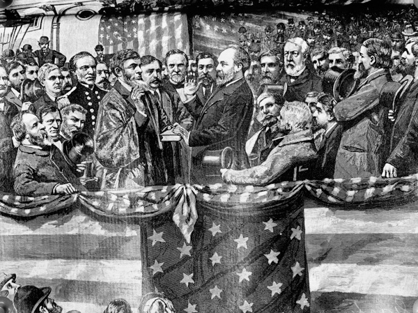 <div class='meta'><div class='origin-logo' data-origin='AP'></div><span class='caption-text' data-credit='AP Photo'>Depicted in this undated illustration from an old print, the inauguration of President James A. Garfield in 1881 by Supreme Court Justice Noah H. Swayne.</span></div>