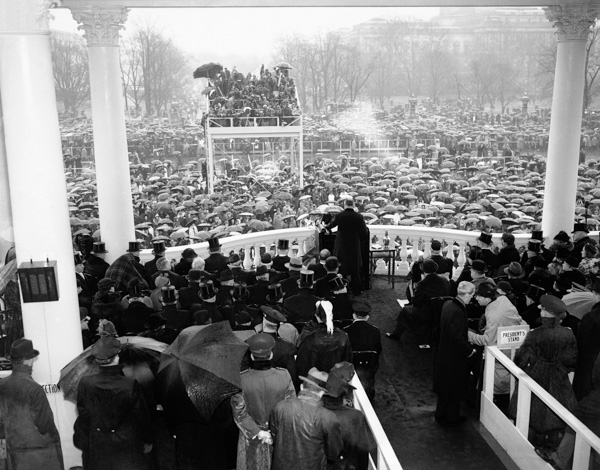 <div class='meta'><div class='origin-logo' data-origin='AP'></div><span class='caption-text' data-credit='AP Photo'>A view looking out into the crowd as President Franklin D. Roosevelt speaks at his inaugural in Washington, Jan. 20, 1937.</span></div>