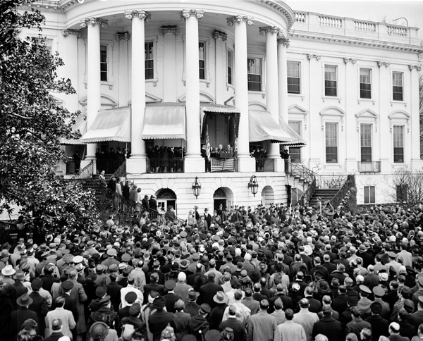 <div class='meta'><div class='origin-logo' data-origin='AP'></div><span class='caption-text' data-credit='Robert Clover/AP Photo'>President Franklin D. Roosevelt takes the oath for his fourth term of office during inaugural ceremonies  on the rear porch of the White House in Washington, Jan. 20, 1945.</span></div>
