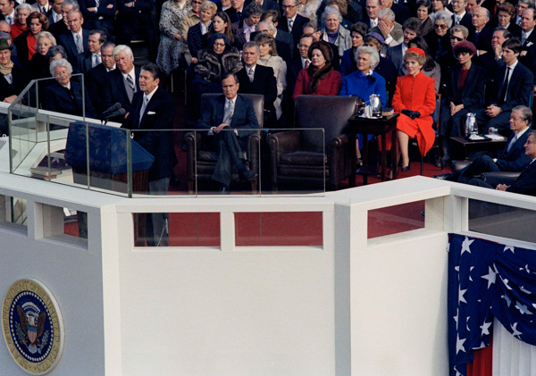 <div class='meta'><div class='origin-logo' data-origin='none'></div><span class='caption-text' data-credit='AP Photo'>President Ronald Reagan speaks at the Capitol in Washington, D.C., following swearing in ceremony at his inauguration, Jan. 20, 1981.</span></div>