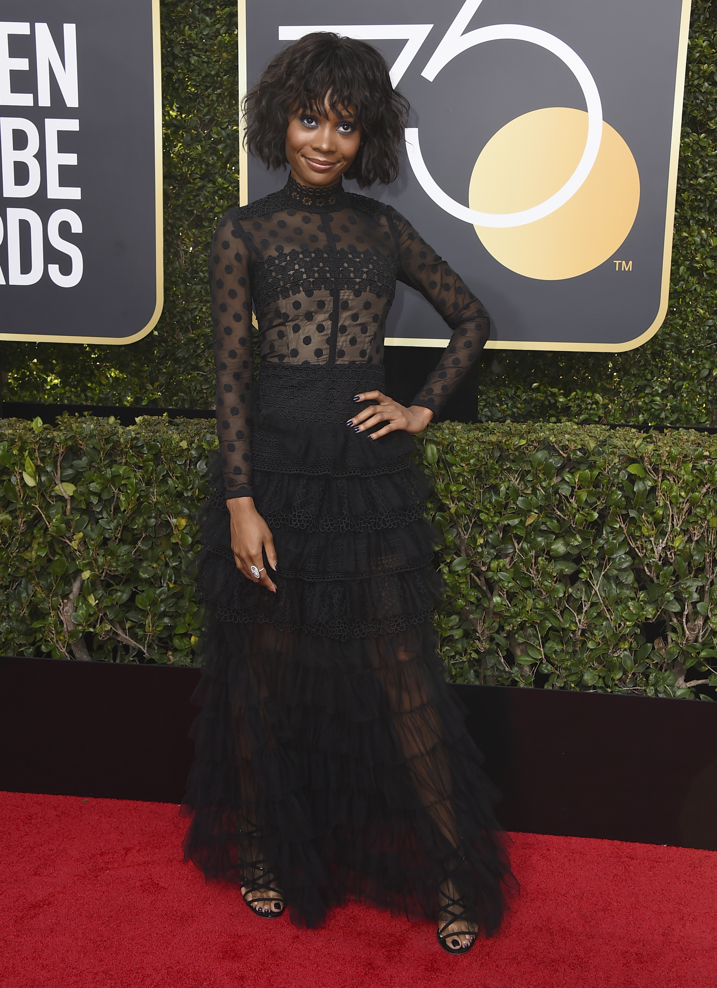 <div class='meta'><div class='origin-logo' data-origin='AP'></div><span class='caption-text' data-credit='Jordan Strauss/Invision/AP'>Zuri Hall arrives at the 75th annual Golden Globe Awards at the Beverly Hilton Hotel on Sunday, Jan. 7, 2018, in Beverly Hills, Calif.</span></div>
