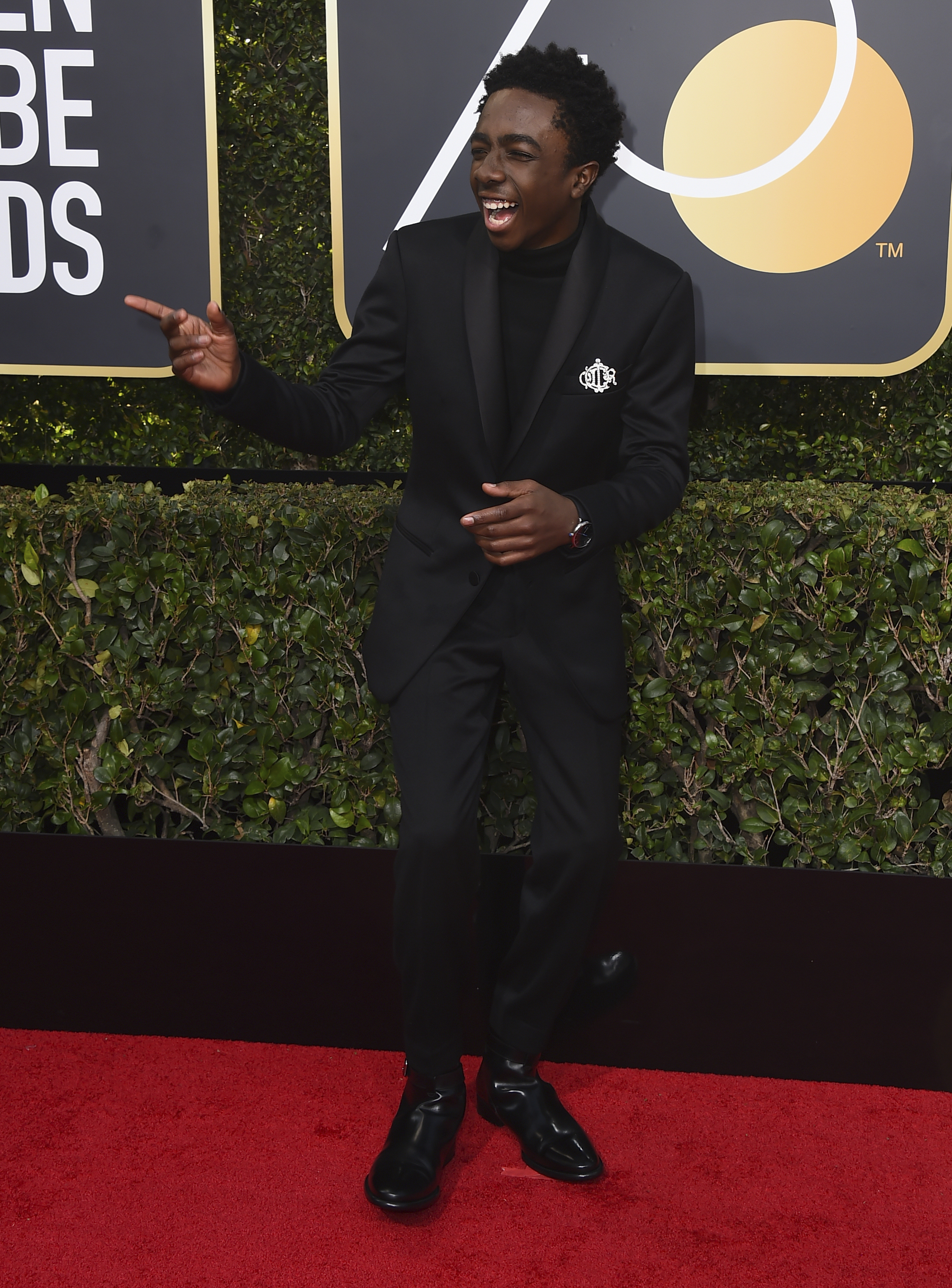 <div class='meta'><div class='origin-logo' data-origin='AP'></div><span class='caption-text' data-credit='Jordan Strauss/Invision/AP'>Caleb McLaughlin arrives at the 75th annual Golden Globe Awards at the Beverly Hilton Hotel on Sunday, Jan. 7, 2018, in Beverly Hills, Calif.</span></div>