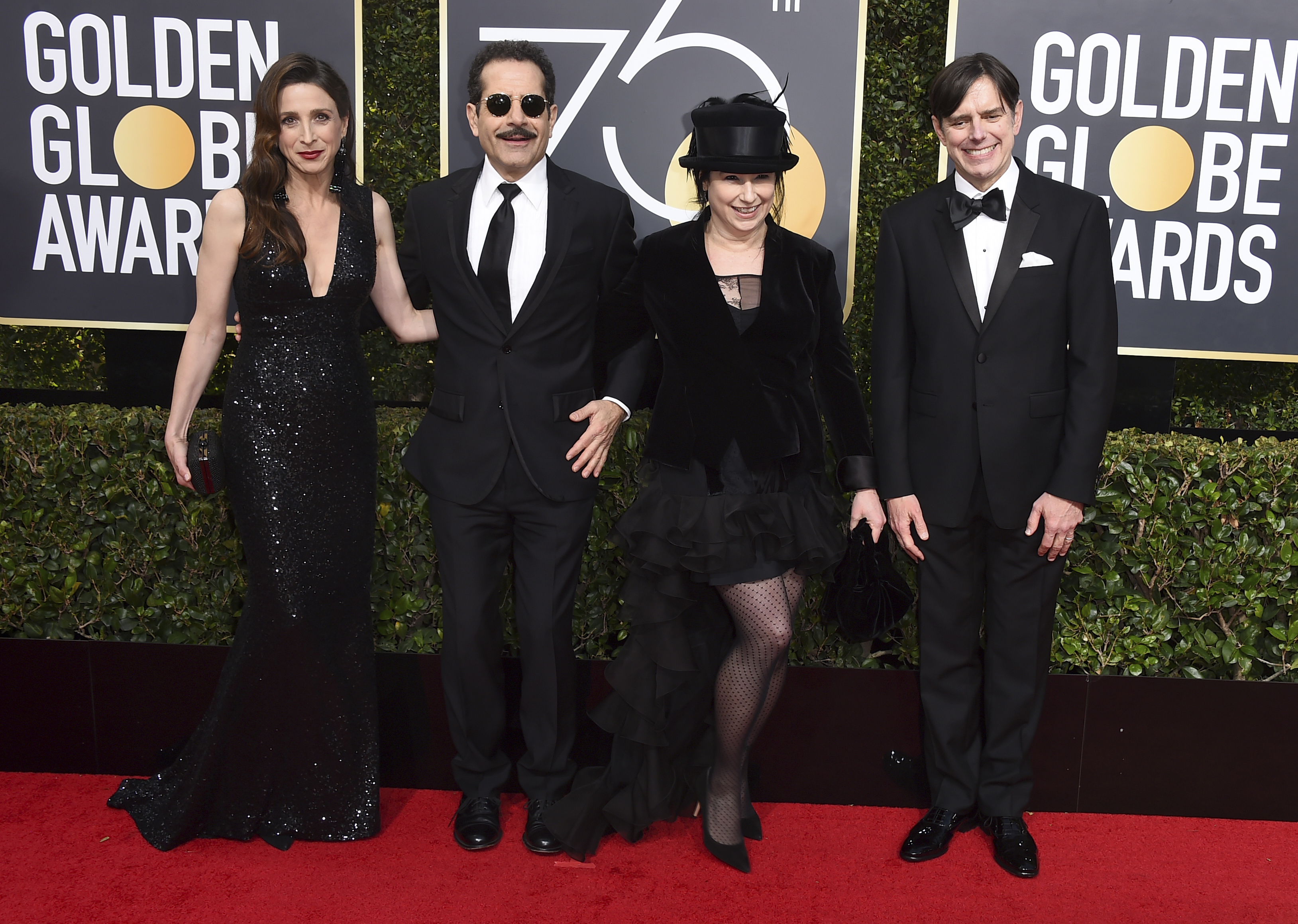 <div class='meta'><div class='origin-logo' data-origin='AP'></div><span class='caption-text' data-credit='Jordan Strauss/Invision/AP'>Marin Hinkle, from left, Tony Shalhoub, Amy Sherman-Palladino and Daniel Palladino arrive at the 75th annual Golden Globe Awards at the Beverly Hilton Hotel.</span></div>