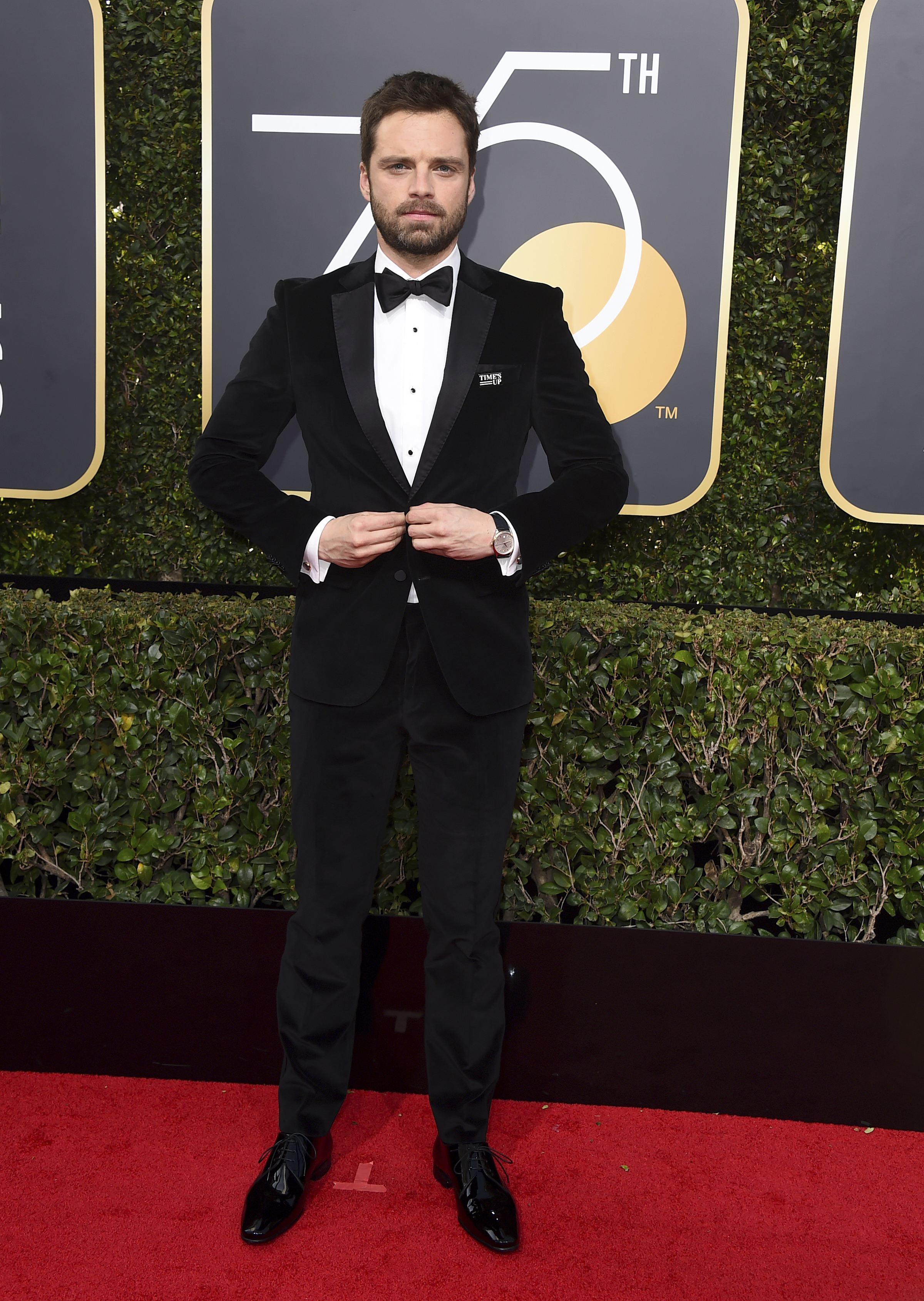 <div class='meta'><div class='origin-logo' data-origin='AP'></div><span class='caption-text' data-credit='Jordan Strauss/Invision/AP'>Sebastian Stan arrives at the 75th annual Golden Globe Awards at the Beverly Hilton Hotel on Sunday, Jan. 7, 2018, in Beverly Hills, Calif.</span></div>