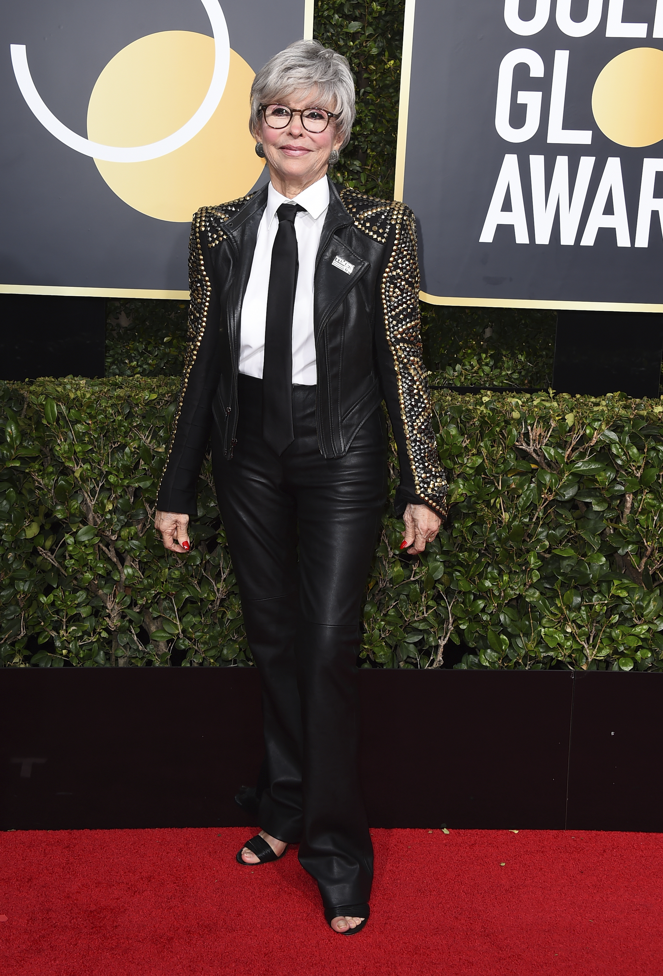 <div class='meta'><div class='origin-logo' data-origin='AP'></div><span class='caption-text' data-credit='Jordan Strauss/Invision/AP'>Rita Moreno arrives at the 75th annual Golden Globe Awards at the Beverly Hilton Hotel on Sunday, Jan. 7, 2018, in Beverly Hills, Calif.</span></div>