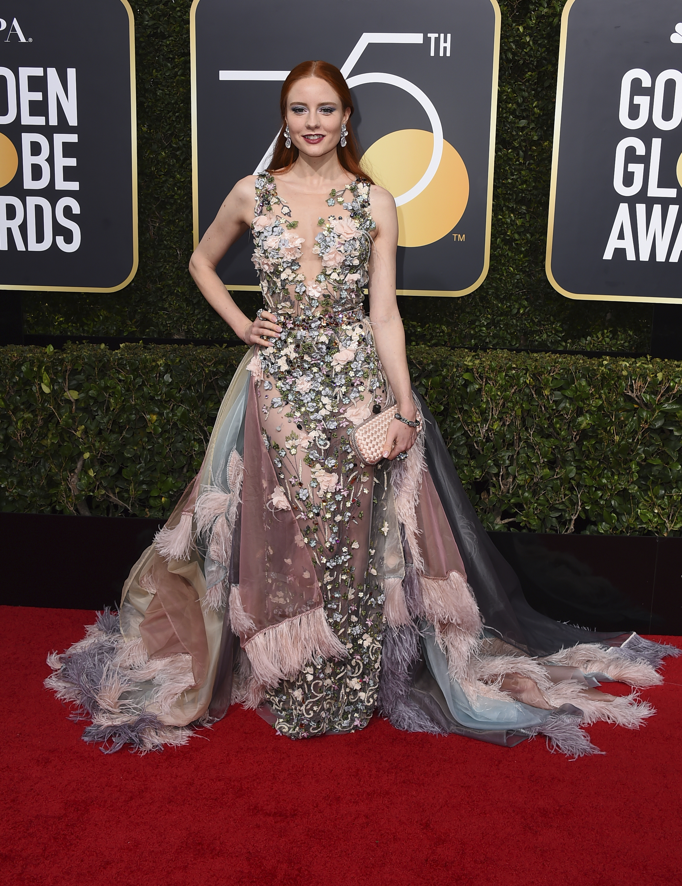 <div class='meta'><div class='origin-logo' data-origin='AP'></div><span class='caption-text' data-credit='Jordan Strauss/Invision/AP'>Barbara Meier arrives at the 75th annual Golden Globe Awards at the Beverly Hilton Hotel on Sunday, Jan. 7, 2018, in Beverly Hills, Calif.</span></div>
