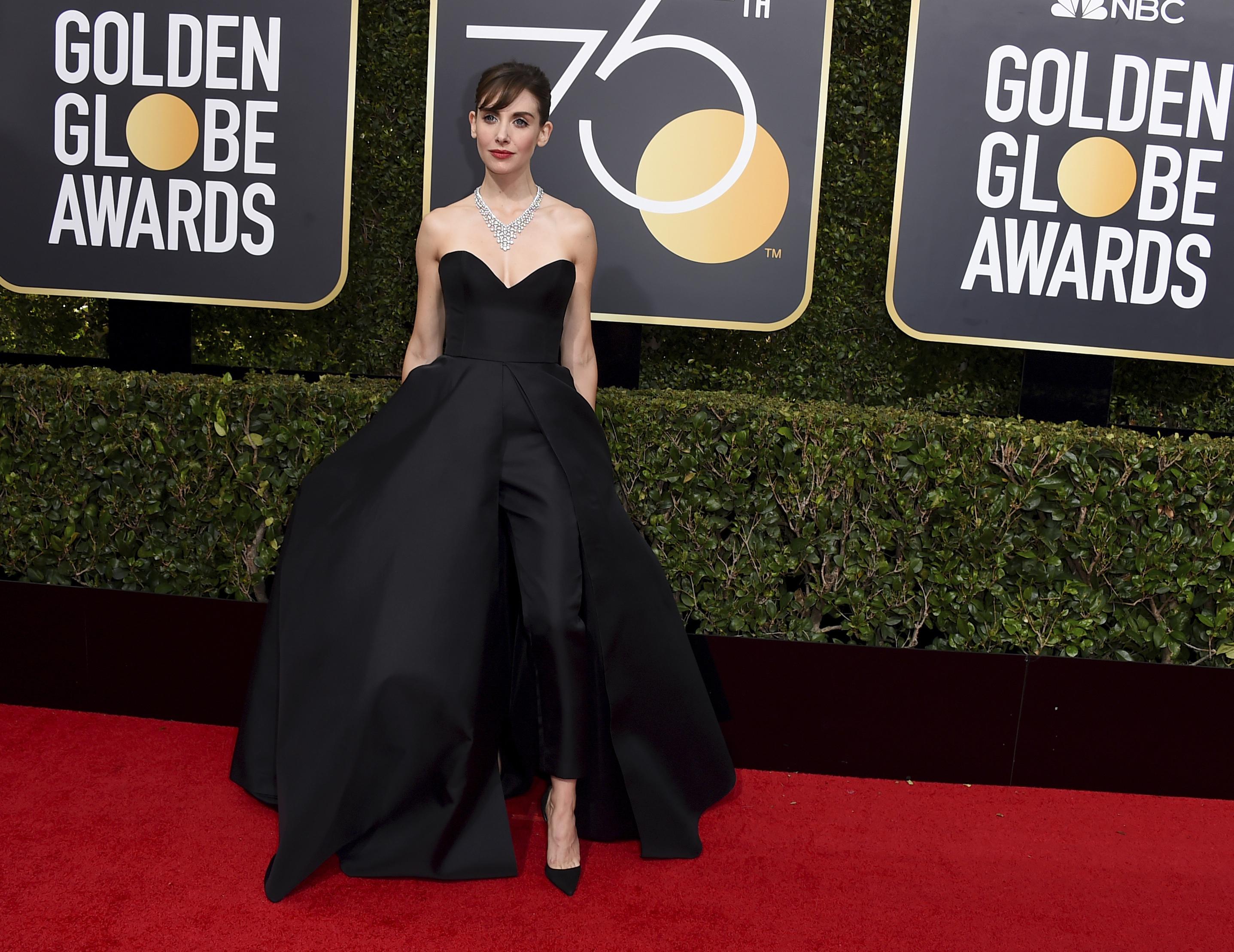 <div class='meta'><div class='origin-logo' data-origin='AP'></div><span class='caption-text' data-credit='Jordan Strauss/Invision/AP'>Alison Brie arrives at the 75th annual Golden Globe Awards at the Beverly Hilton Hotel on Sunday, Jan. 7, 2018, in Beverly Hills, Calif.</span></div>