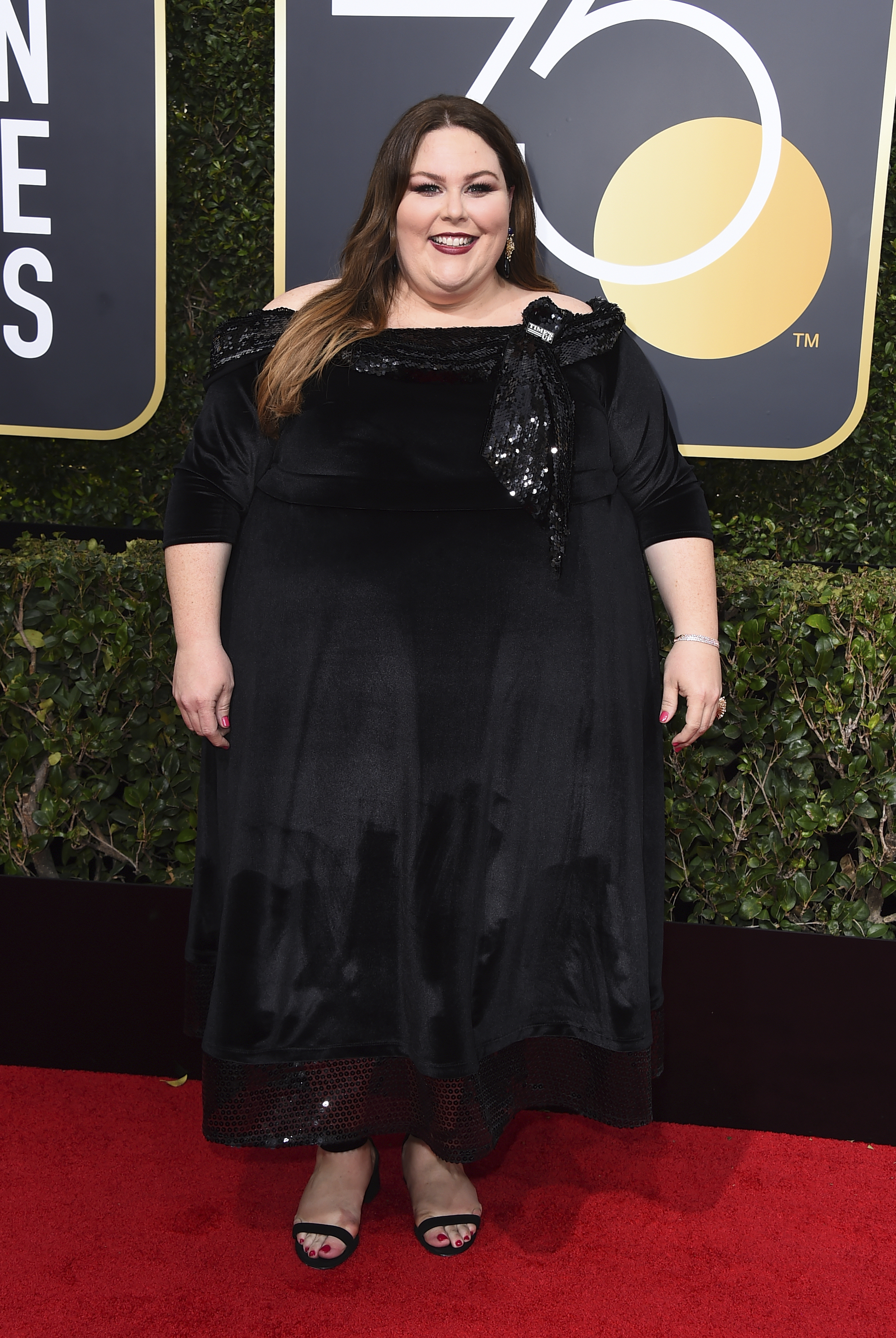 <div class='meta'><div class='origin-logo' data-origin='AP'></div><span class='caption-text' data-credit='Jordan Strauss/Invision/AP'>Chrissy Metz arrives at the 75th annual Golden Globe Awards at the Beverly Hilton Hotel on Sunday, Jan. 7, 2018, in Beverly Hills, Calif.</span></div>
