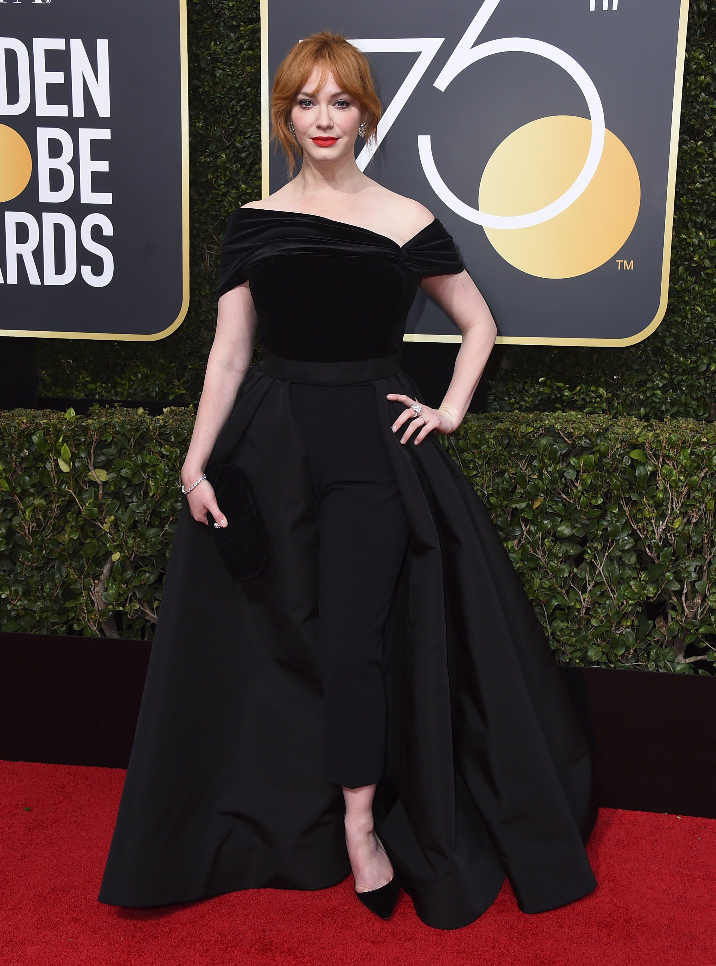 <div class='meta'><div class='origin-logo' data-origin='AP'></div><span class='caption-text' data-credit='Jordan Strauss/Invision/AP'>Christina Hendricks arrives at the 75th annual Golden Globe Awards at the Beverly Hilton Hotel on Sunday, Jan. 7, 2018, in Beverly Hills, Calif.</span></div>