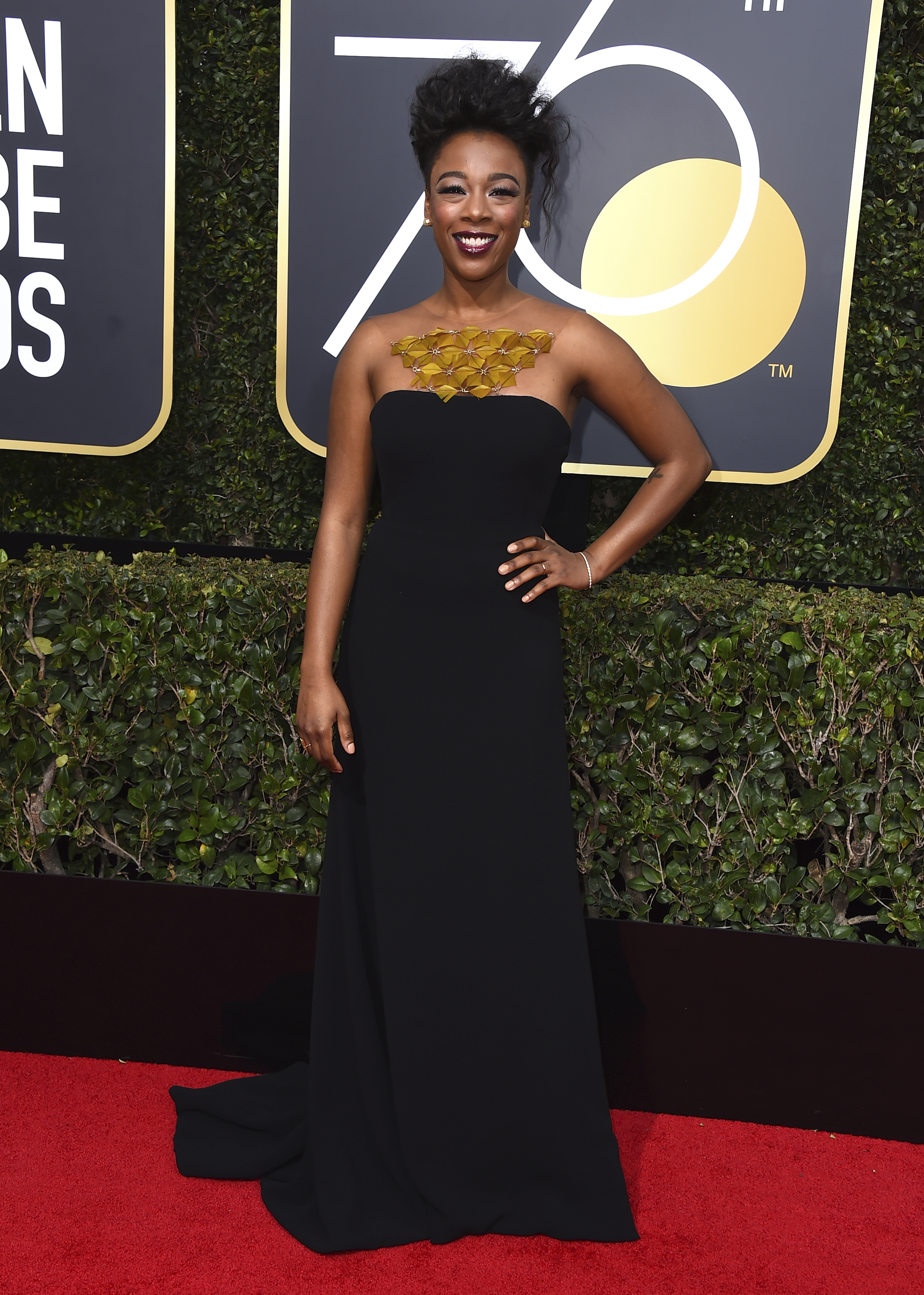 <div class='meta'><div class='origin-logo' data-origin='AP'></div><span class='caption-text' data-credit='Jordan Strauss/Invision/AP'>Samira Wiley arrives at the 75th annual Golden Globe Awards at the Beverly Hilton Hotel on Sunday, Jan. 7, 2018, in Beverly Hills, Calif.</span></div>