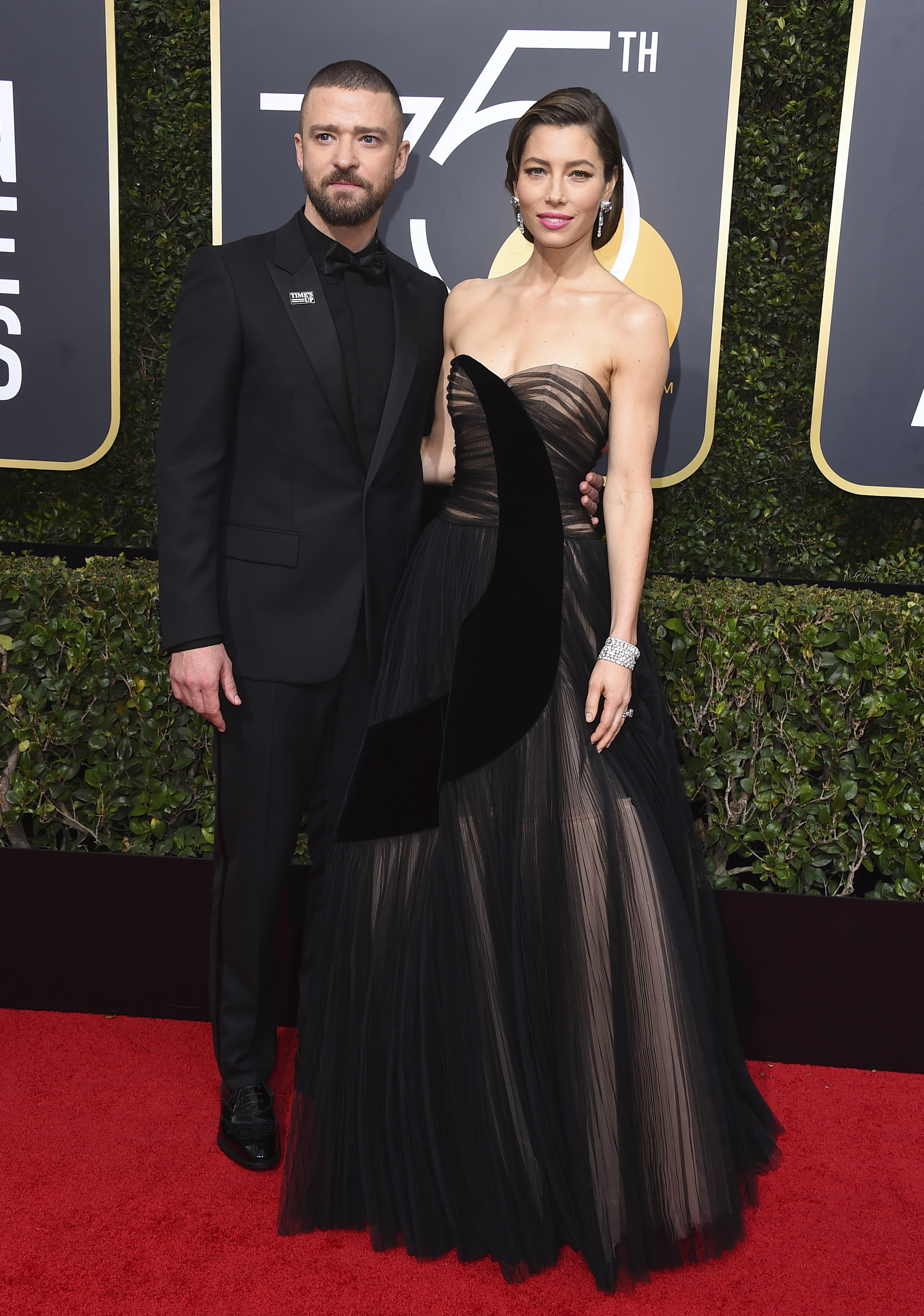 <div class='meta'><div class='origin-logo' data-origin='AP'></div><span class='caption-text' data-credit='Jordan Strauss/Invision/AP'>Justin Timberlake, left, and Jessica Biel arrive at the 75th annual Golden Globe Awards at the Beverly Hilton Hotel on Sunday, Jan. 7, 2018, in Beverly Hills, Calif.</span></div>