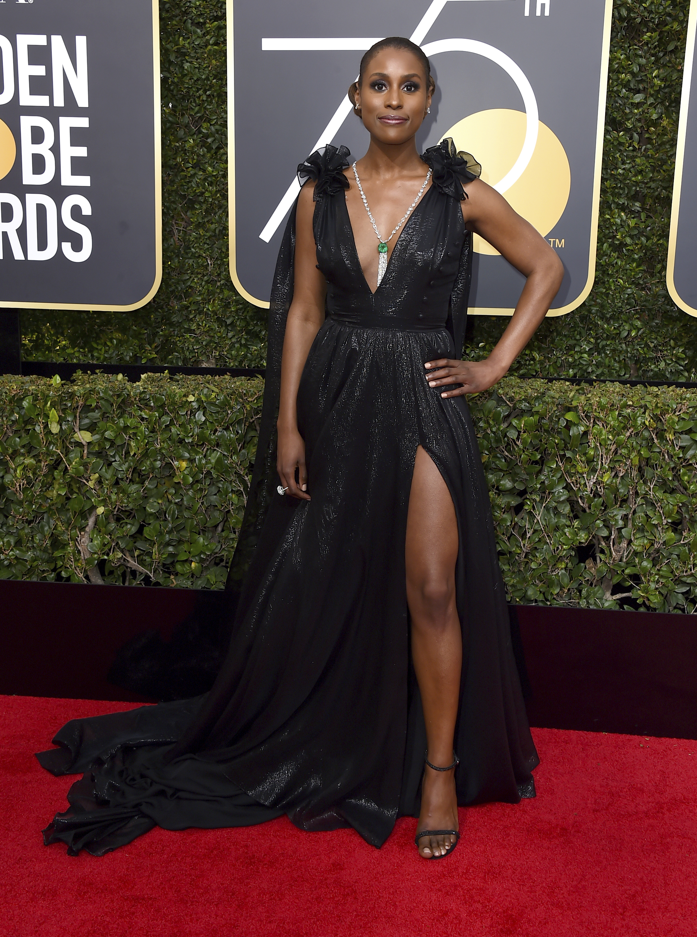 <div class='meta'><div class='origin-logo' data-origin='AP'></div><span class='caption-text' data-credit='Jordan Strauss/Invision/AP'>Issa Rae arrives at the 75th annual Golden Globe Awards at the Beverly Hilton Hotel on Sunday, Jan. 7, 2018, in Beverly Hills, Calif.</span></div>