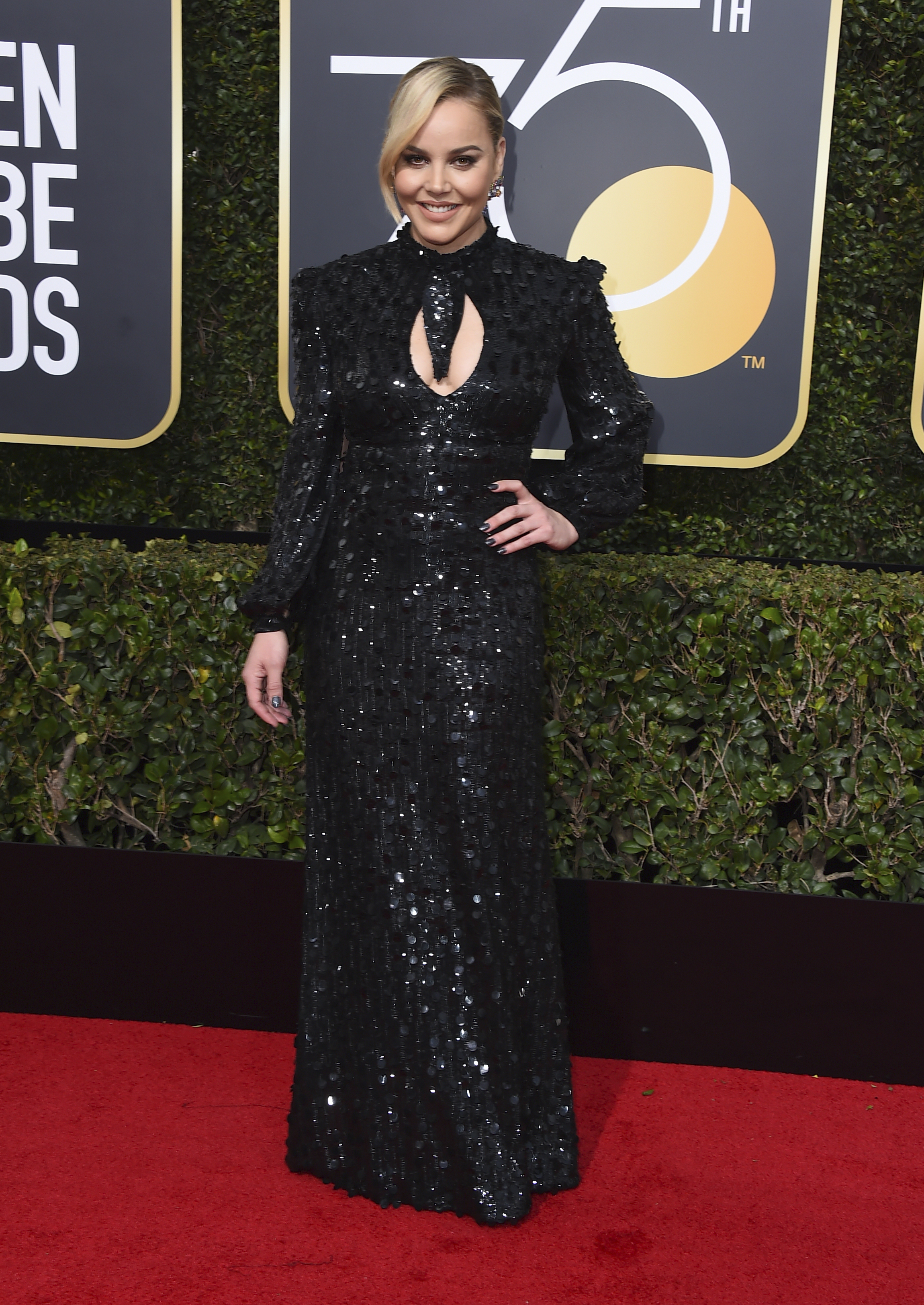 <div class='meta'><div class='origin-logo' data-origin='AP'></div><span class='caption-text' data-credit='Jordan Strauss/Invision/AP'>Abbie Cornish arrives at the 75th annual Golden Globe Awards at the Beverly Hilton Hotel on Sunday, Jan. 7, 2018, in Beverly Hills, Calif.</span></div>