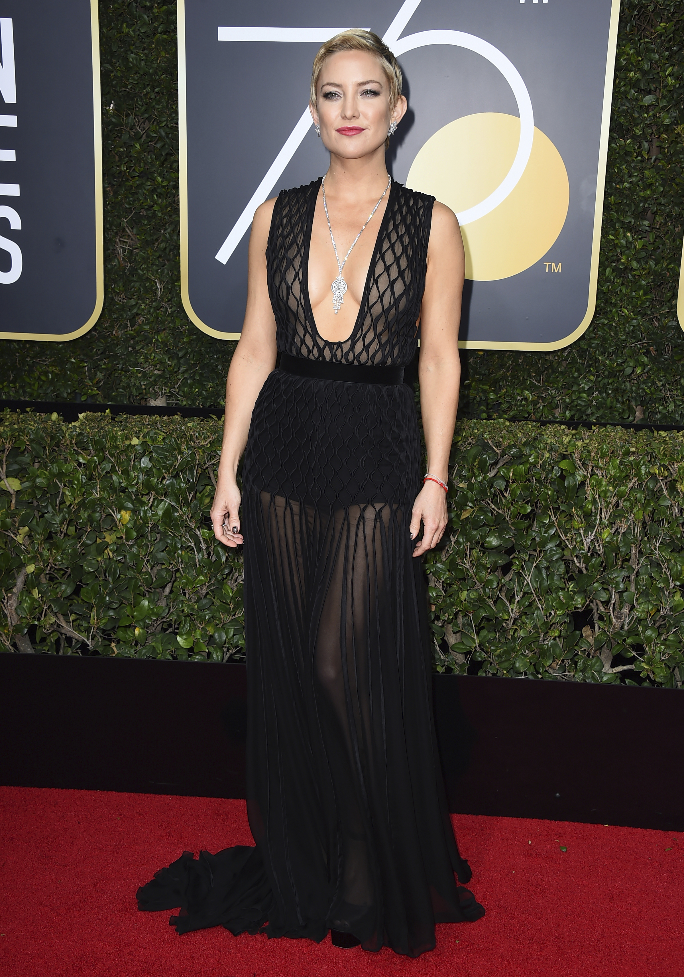 <div class='meta'><div class='origin-logo' data-origin='AP'></div><span class='caption-text' data-credit='Jordan Strauss/Invision/AP'>Kate Hudson arrives at the 75th annual Golden Globe Awards at the Beverly Hilton Hotel on Sunday, Jan. 7, 2018, in Beverly Hills, Calif.</span></div>
