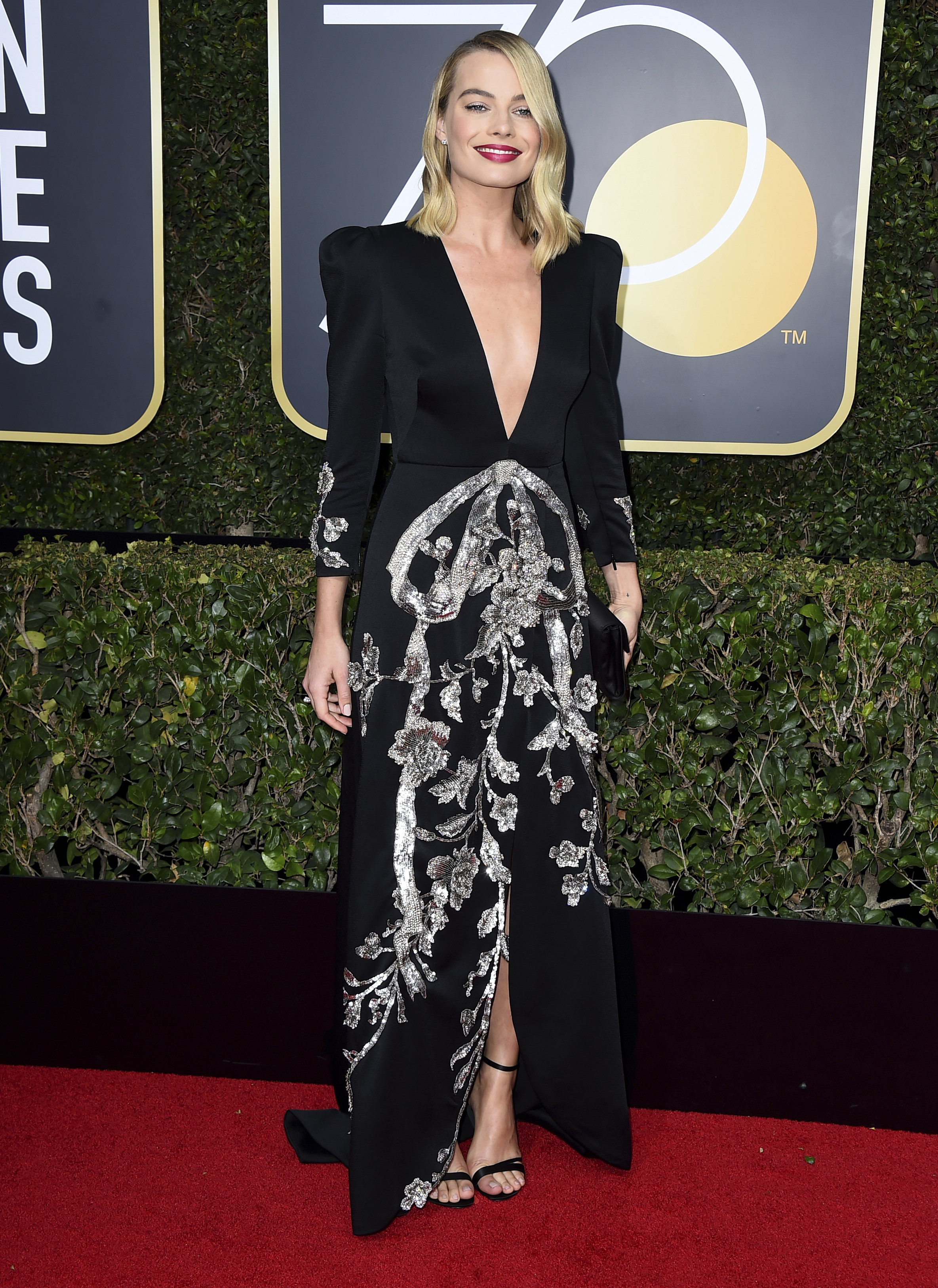<div class='meta'><div class='origin-logo' data-origin='AP'></div><span class='caption-text' data-credit='Jordan Strauss/Invision/AP'>Margot Robbie arrives at the 75th annual Golden Globe Awards at the Beverly Hilton Hotel on Sunday, Jan. 7, 2018, in Beverly Hills, Calif.</span></div>