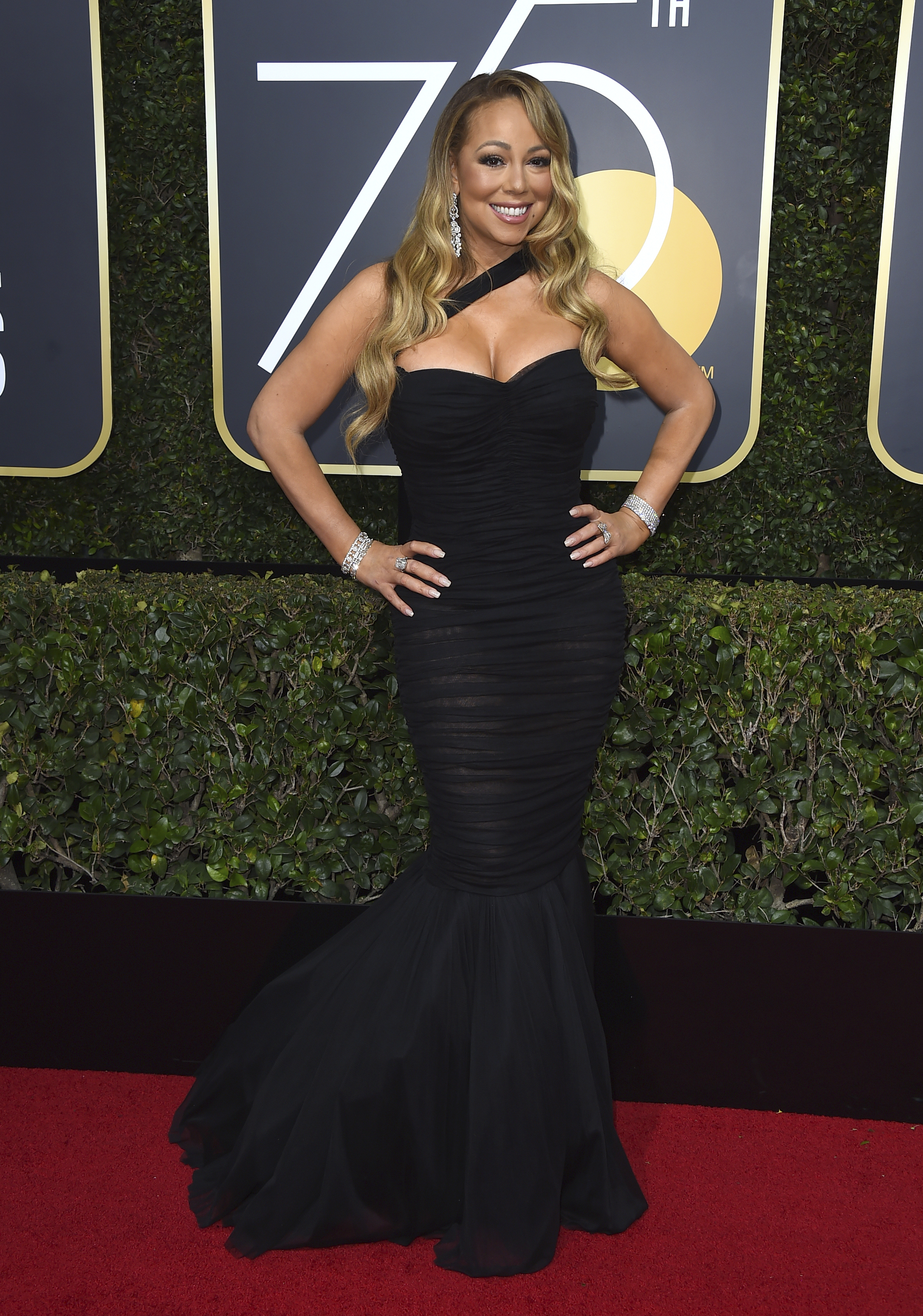 <div class='meta'><div class='origin-logo' data-origin='AP'></div><span class='caption-text' data-credit='Jordan Strauss/Invision/AP'>Mariah Carey arrives at the 75th annual Golden Globe Awards at the Beverly Hilton Hotel on Sunday, Jan. 7, 2018, in Beverly Hills, Calif.</span></div>