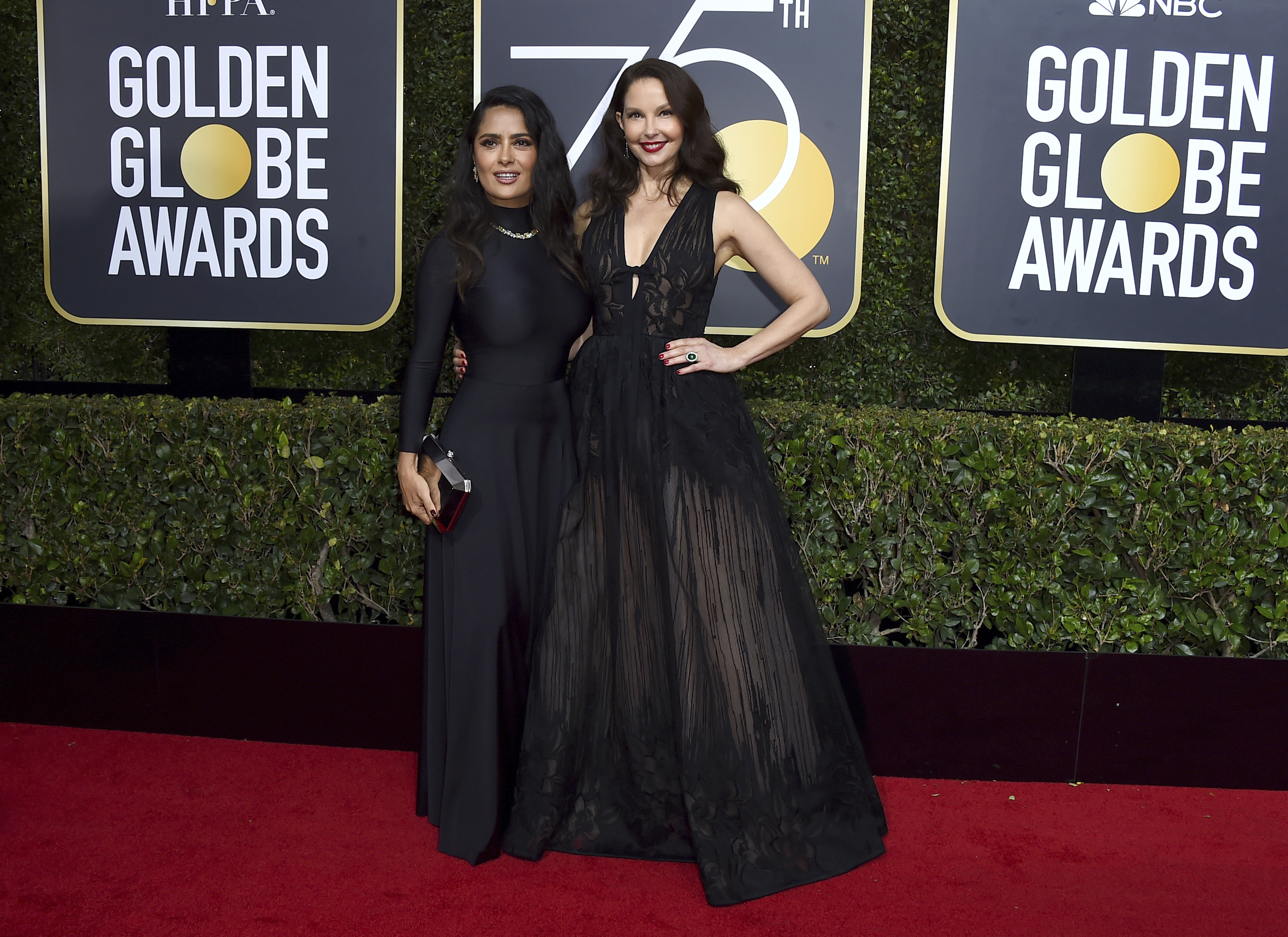 <div class='meta'><div class='origin-logo' data-origin='AP'></div><span class='caption-text' data-credit='Jordan Strauss/Invision/AP'>Salma Hayek, left, and Ashley Judd arrive at the 75th annual Golden Globe Awards at the Beverly Hilton Hotel on Sunday, Jan. 7, 2018, in Beverly Hills, Calif.</span></div>
