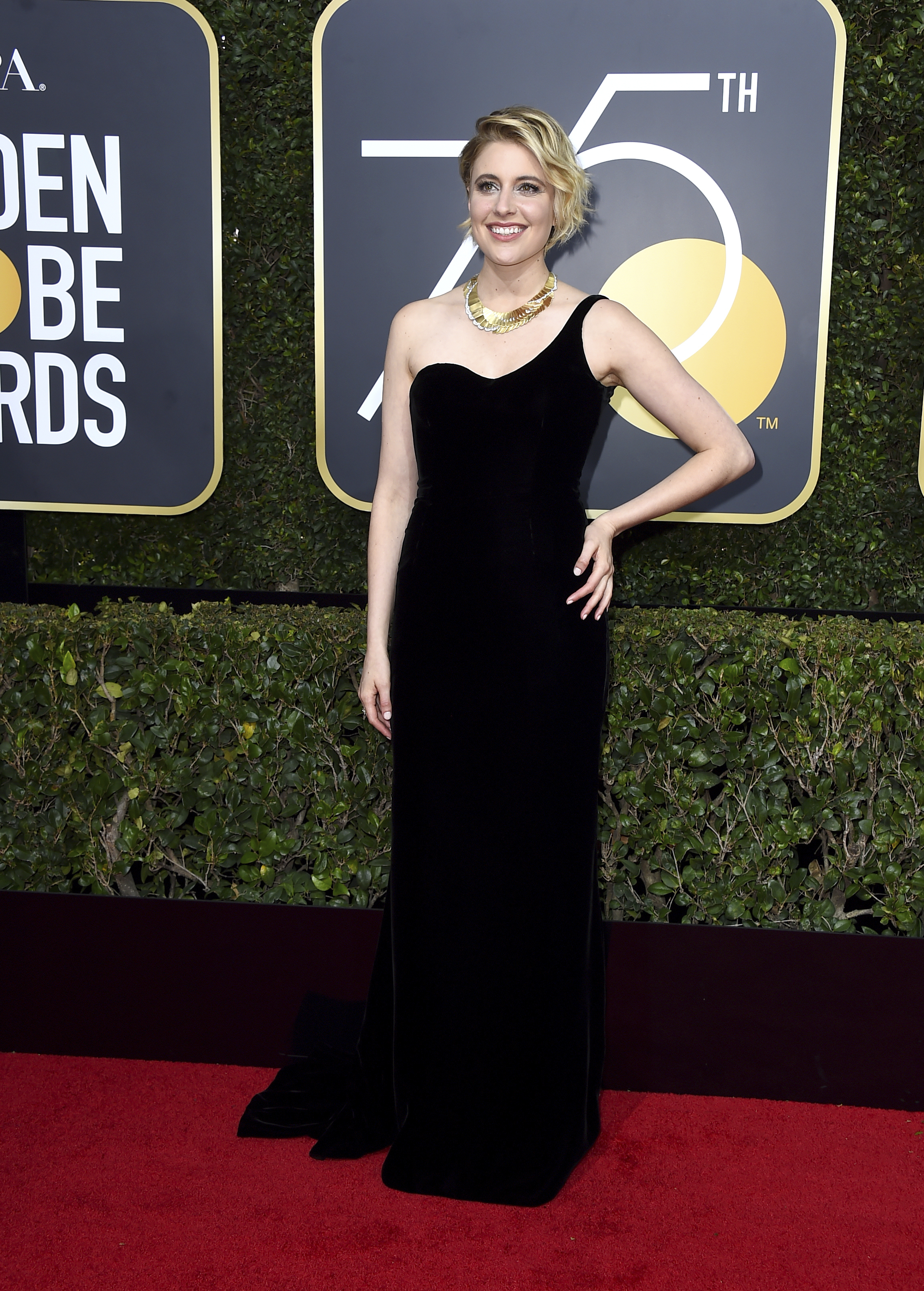 <div class='meta'><div class='origin-logo' data-origin='AP'></div><span class='caption-text' data-credit='Jordan Strauss/Invision/AP'>Greta Gerwig arrives at the 75th annual Golden Globe Awards at the Beverly Hilton Hotel on Sunday, Jan. 7, 2018, in Beverly Hills, Calif.</span></div>