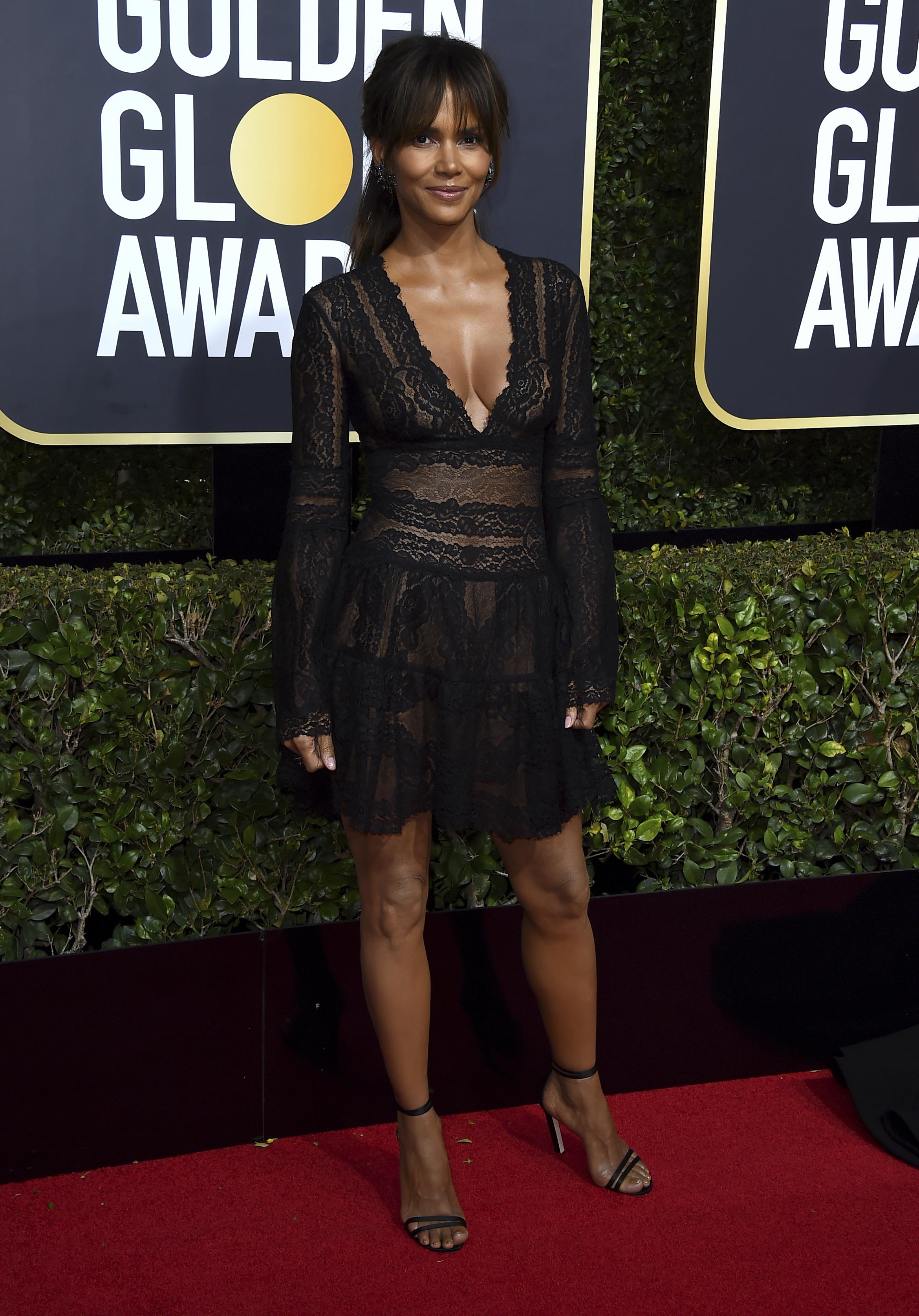 <div class='meta'><div class='origin-logo' data-origin='AP'></div><span class='caption-text' data-credit='Jordan Strauss/Invision/AP'>Halle Berry arrives at the 75th annual Golden Globe Awards at the Beverly Hilton Hotel on Sunday, Jan. 7, 2018, in Beverly Hills, Calif.</span></div>