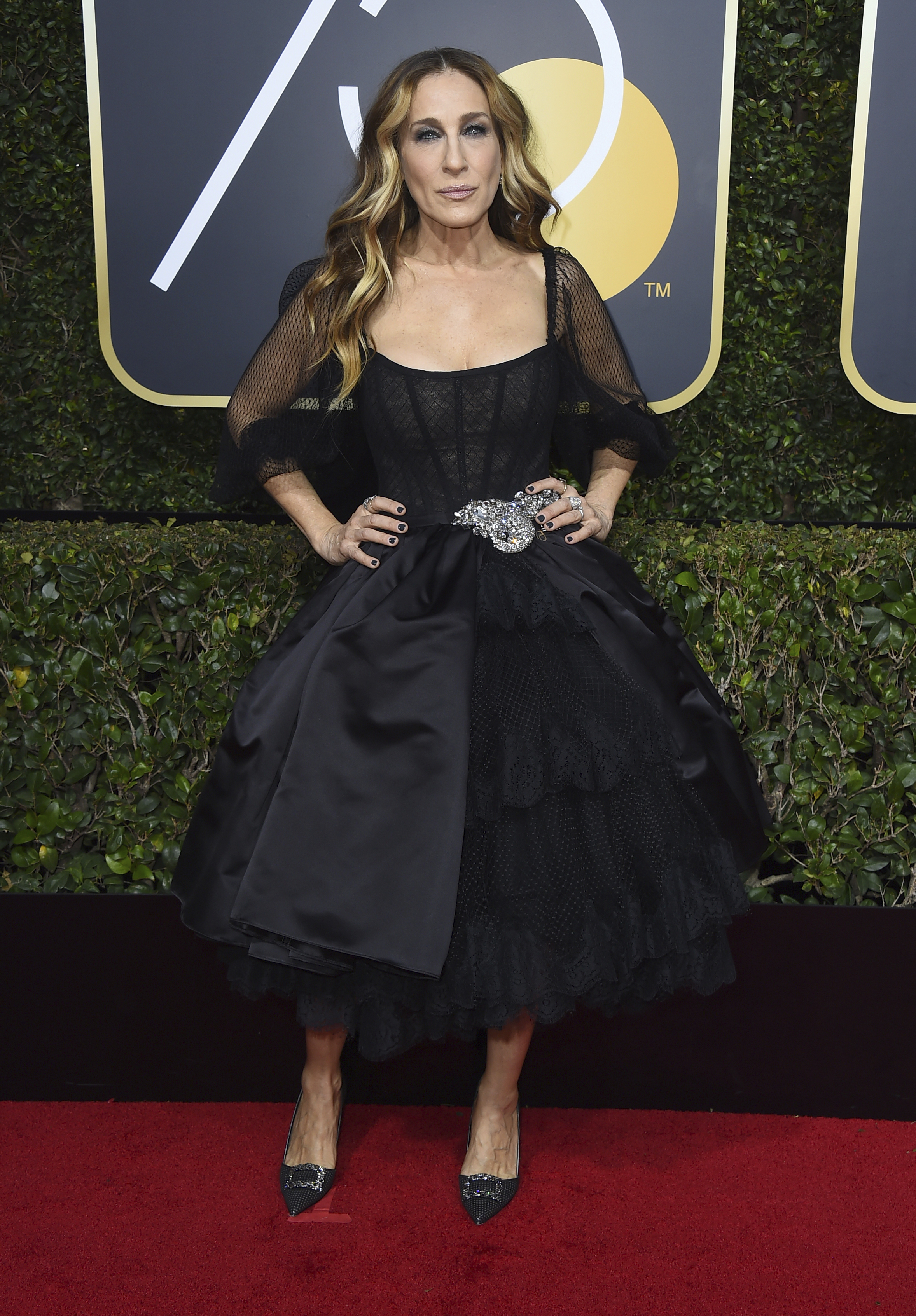 <div class='meta'><div class='origin-logo' data-origin='AP'></div><span class='caption-text' data-credit='Jordan Strauss/Invision/AP'>Sarah Jessica Parker arrives at the 75th annual Golden Globe Awards at the Beverly Hilton Hotel on Sunday, Jan. 7, 2018, in Beverly Hills, Calif.</span></div>