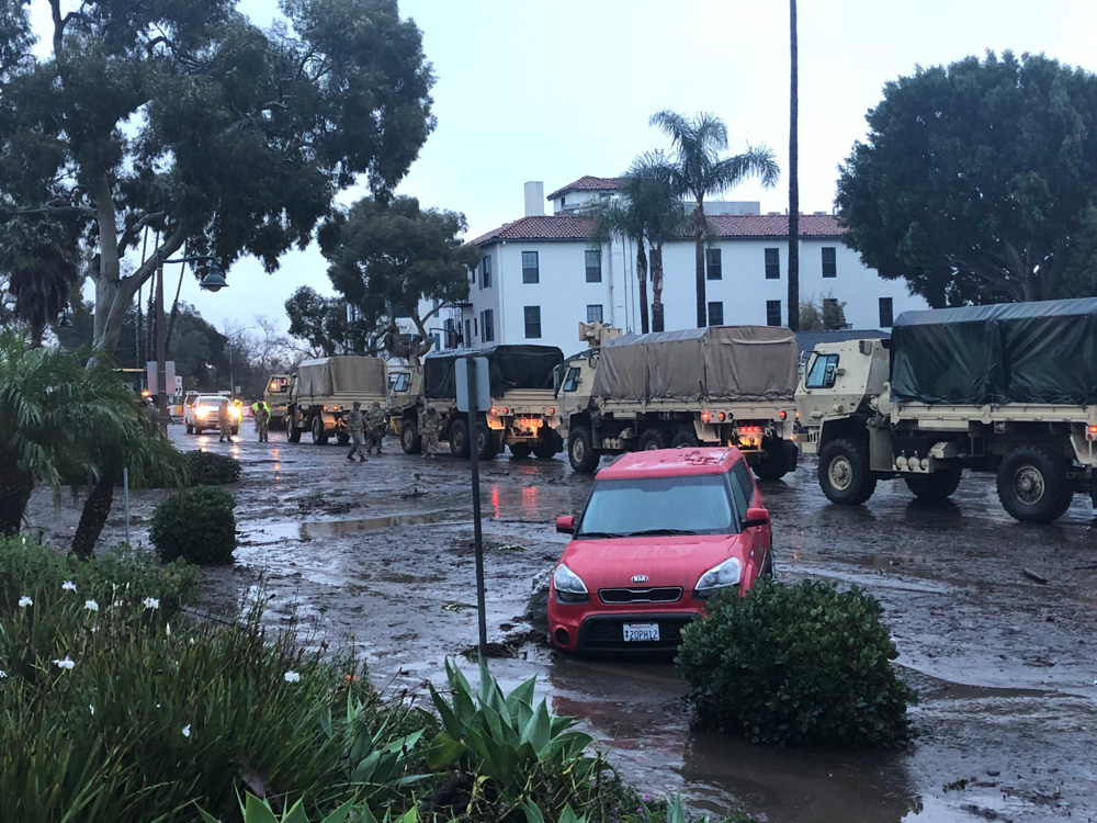 <div class='meta'><div class='origin-logo' data-origin='none'></div><span class='caption-text' data-credit='Marshalltm/Twitter'>&#34;The national guard on Coast Village Road.  Grateful for our first responders&#34;</span></div>