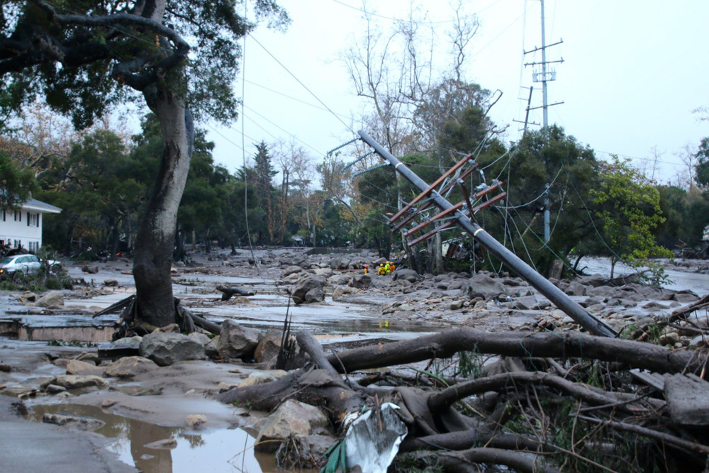 <div class='meta'><div class='origin-logo' data-origin='none'></div><span class='caption-text' data-credit='Santa Barbara Urban Hikers/Facebook'>Heavy rainfall in areas affected by the Thomas Fire have caused flooding and mudflows in Montecito.</span></div>
