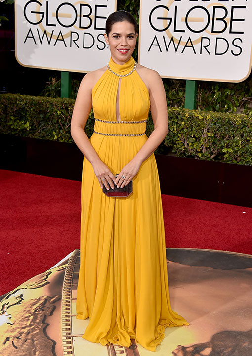 "<div class=""meta image-caption""><div class=""origin-logo origin-image none""><span>none</span></div><span class=""caption-text"">America Ferrera arrives at the 73rd annual Golden Globe Awards on Sunday, Jan. 10, 2016, at the Beverly Hilton Hotel in Beverly Hills, Calif. (Jordan Strauss/Invision/AP)</span></div>"