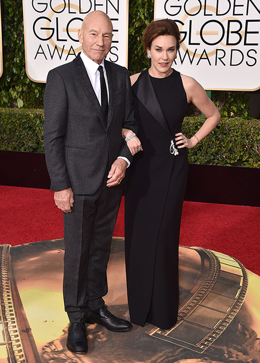 "<div class=""meta image-caption""><div class=""origin-logo origin-image none""><span>none</span></div><span class=""caption-text"">Patrick Stewart, left, and Sunny Ozell arrive at the 73rd annual Golden Globe Awards on Sunday, Jan. 10, 2016, at the Beverly Hilton Hotel in Beverly Hills, Calif. (Jordan Strauss/Invision/AP)</span></div>"