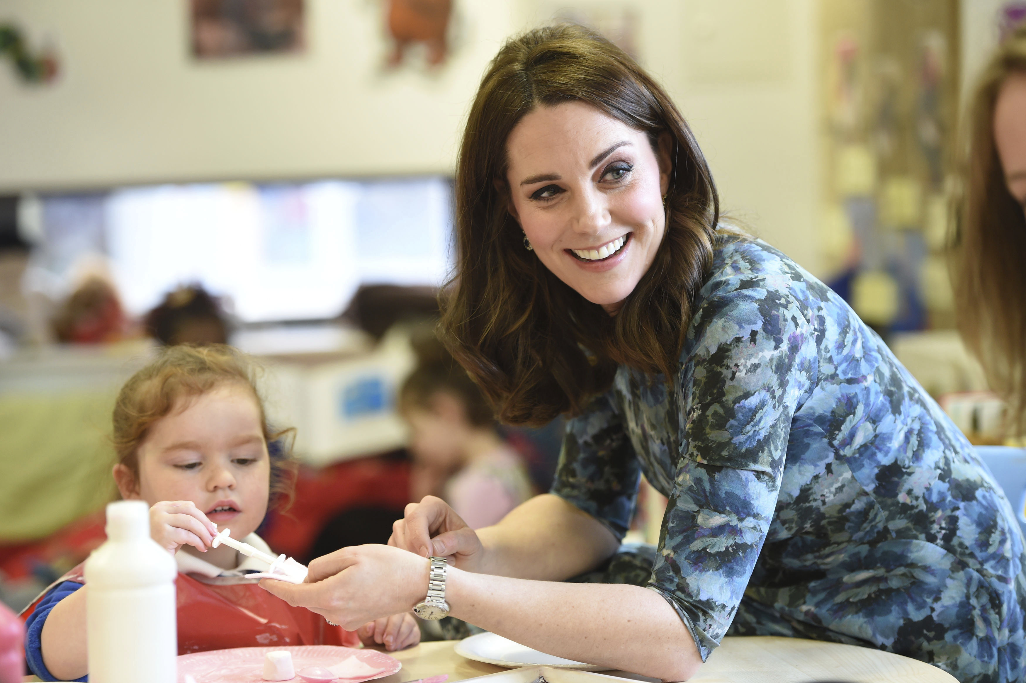 <div class='meta'><div class='origin-logo' data-origin='AP'></div><span class='caption-text' data-credit='Eddie Mulholland/Pool Photo via AP'>Kate, Duchess of Cambridge smiles as she interacts with children Wednesday Jan. 10, 2018 during a visit to the Reach Academy Feltham, in London.</span></div>