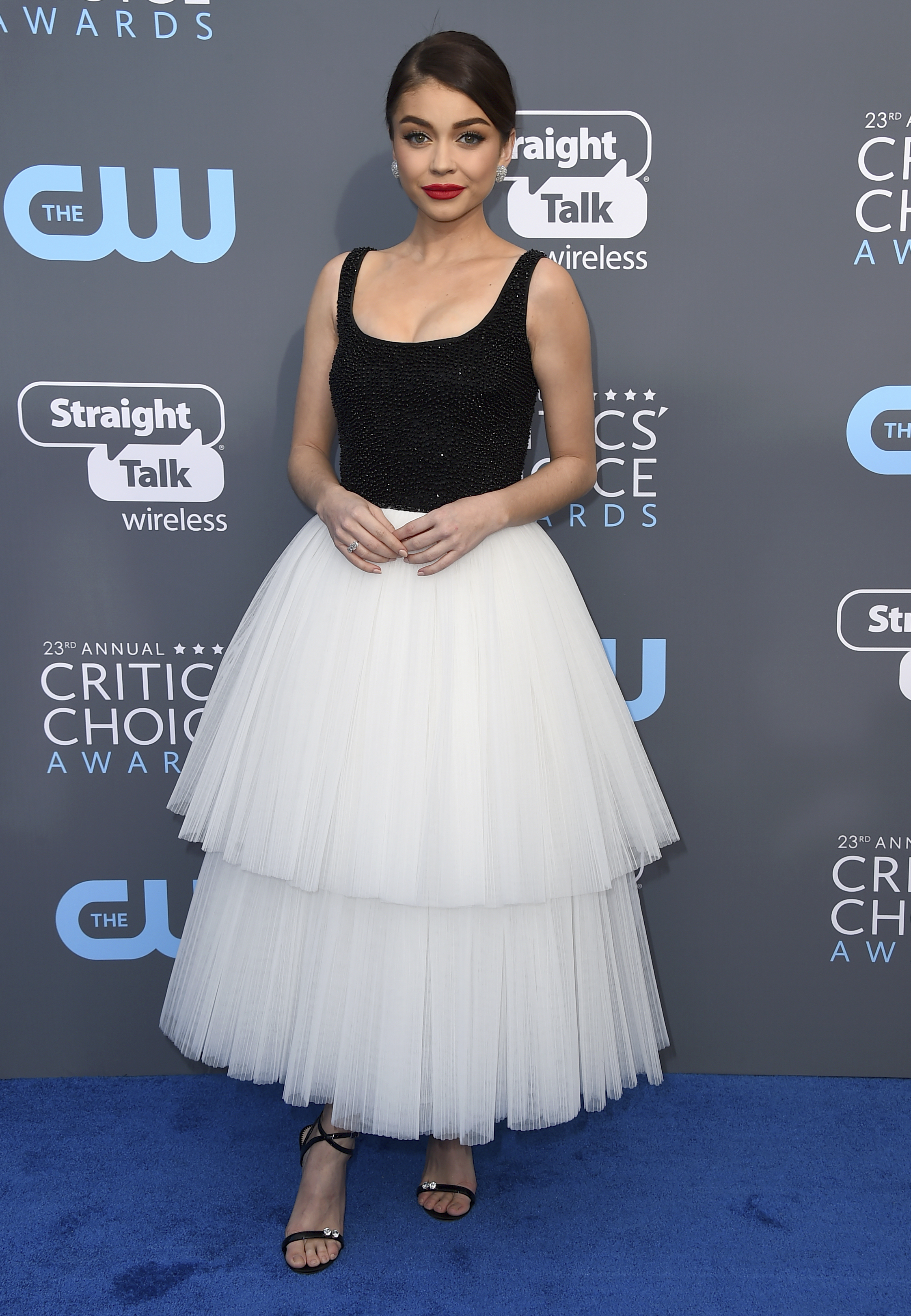 <div class='meta'><div class='origin-logo' data-origin='AP'></div><span class='caption-text' data-credit='Jordan Strauss/Invision/AP'>Sarah Hyland arrives at the 23rd annual Critics' Choice Awards at the Barker Hangar on Thursday, Jan. 11, 2018, in Santa Monica, Calif.</span></div>
