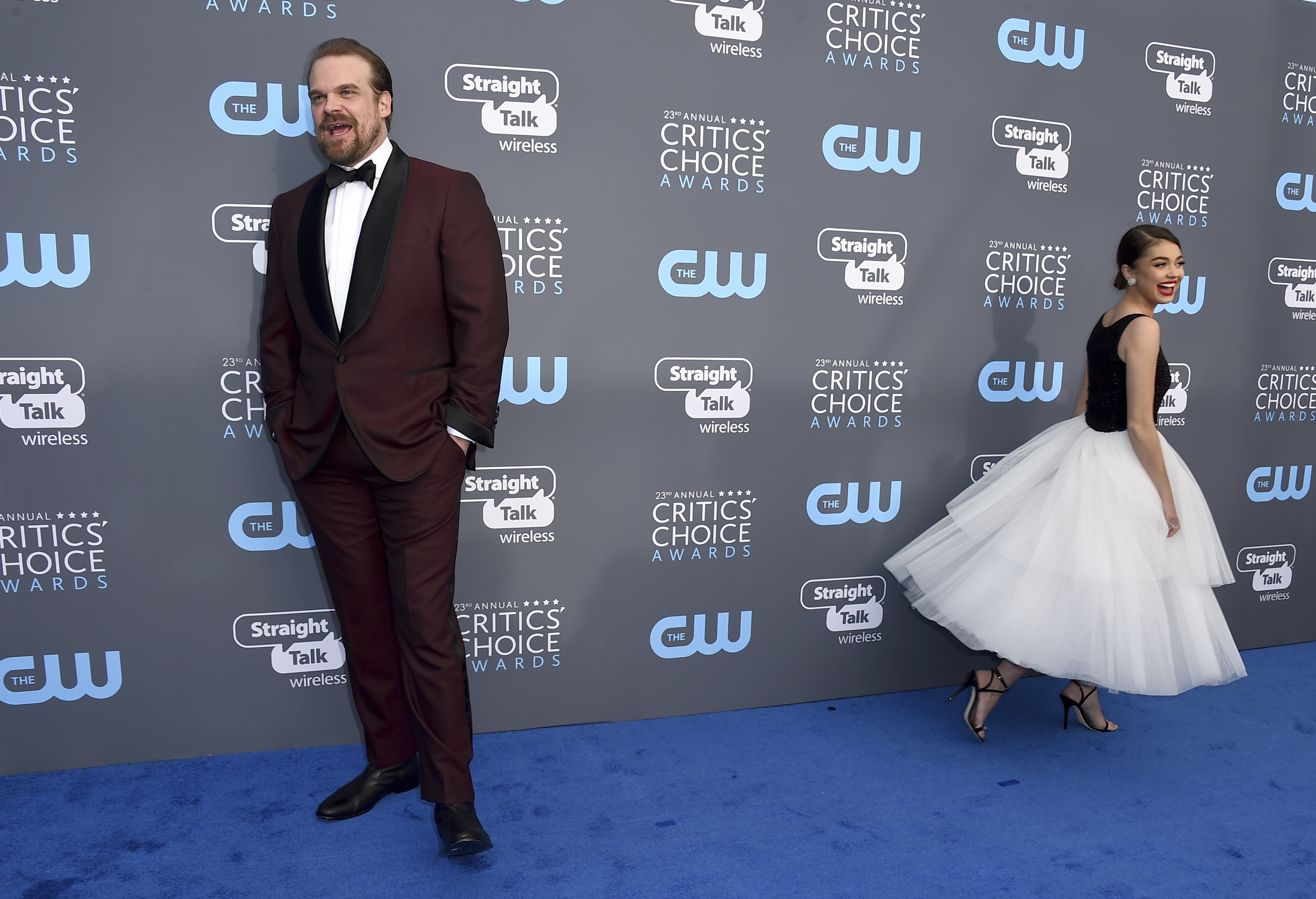 <div class='meta'><div class='origin-logo' data-origin='AP'></div><span class='caption-text' data-credit='Jordan Strauss/Invision/AP'>David Harbour, left, and Sarah Hyland arrive at the 23rd annual Critics' Choice Awards at the Barker Hangar on Thursday, Jan. 11, 2018, in Santa Monica, Calif.</span></div>