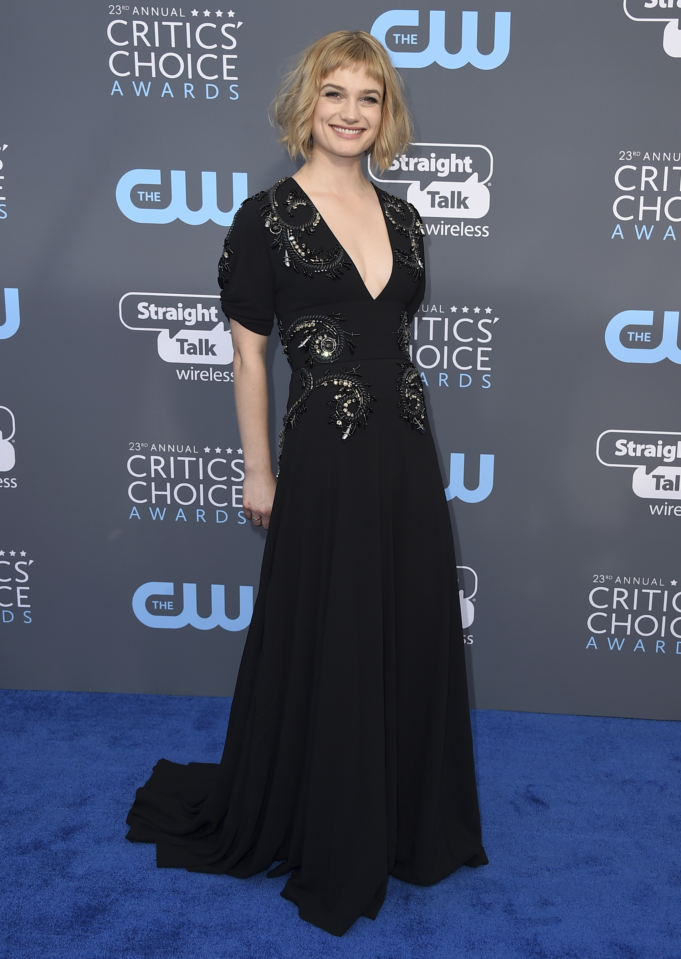 <div class='meta'><div class='origin-logo' data-origin='AP'></div><span class='caption-text' data-credit='Jordan Strauss/Invision/AP'>Alison Sudol arrives at the 23rd annual Critics' Choice Awards at the Barker Hangar on Thursday, Jan. 11, 2018, in Santa Monica, Calif.</span></div>