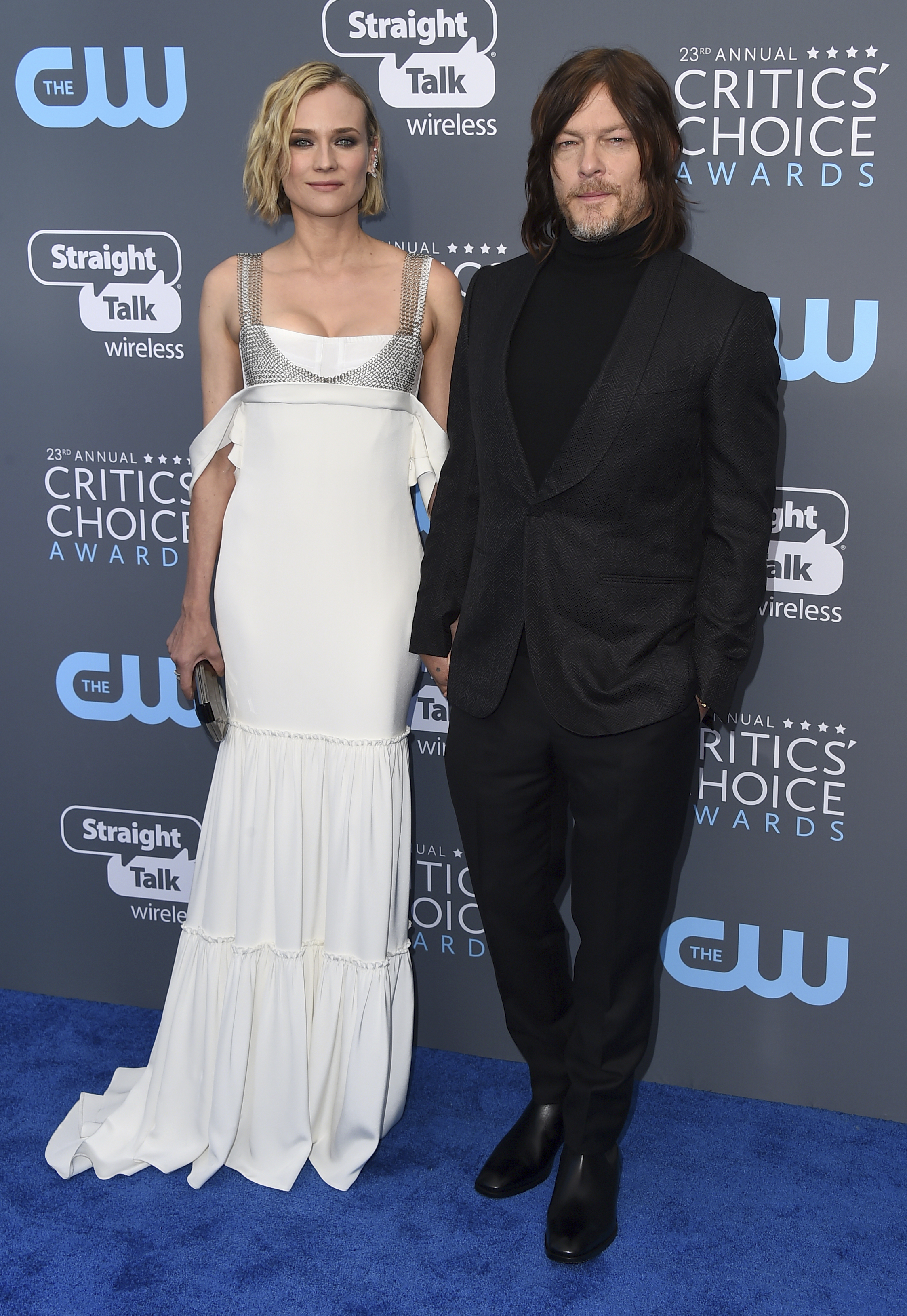 <div class='meta'><div class='origin-logo' data-origin='AP'></div><span class='caption-text' data-credit='Jordan Strauss/Invision/AP'>Diane Kruger, left, and Norman Reedus arrive at the 23rd annual Critics' Choice Awards at the Barker Hangar on Thursday, Jan. 11, 2018, in Santa Monica, Calif.</span></div>