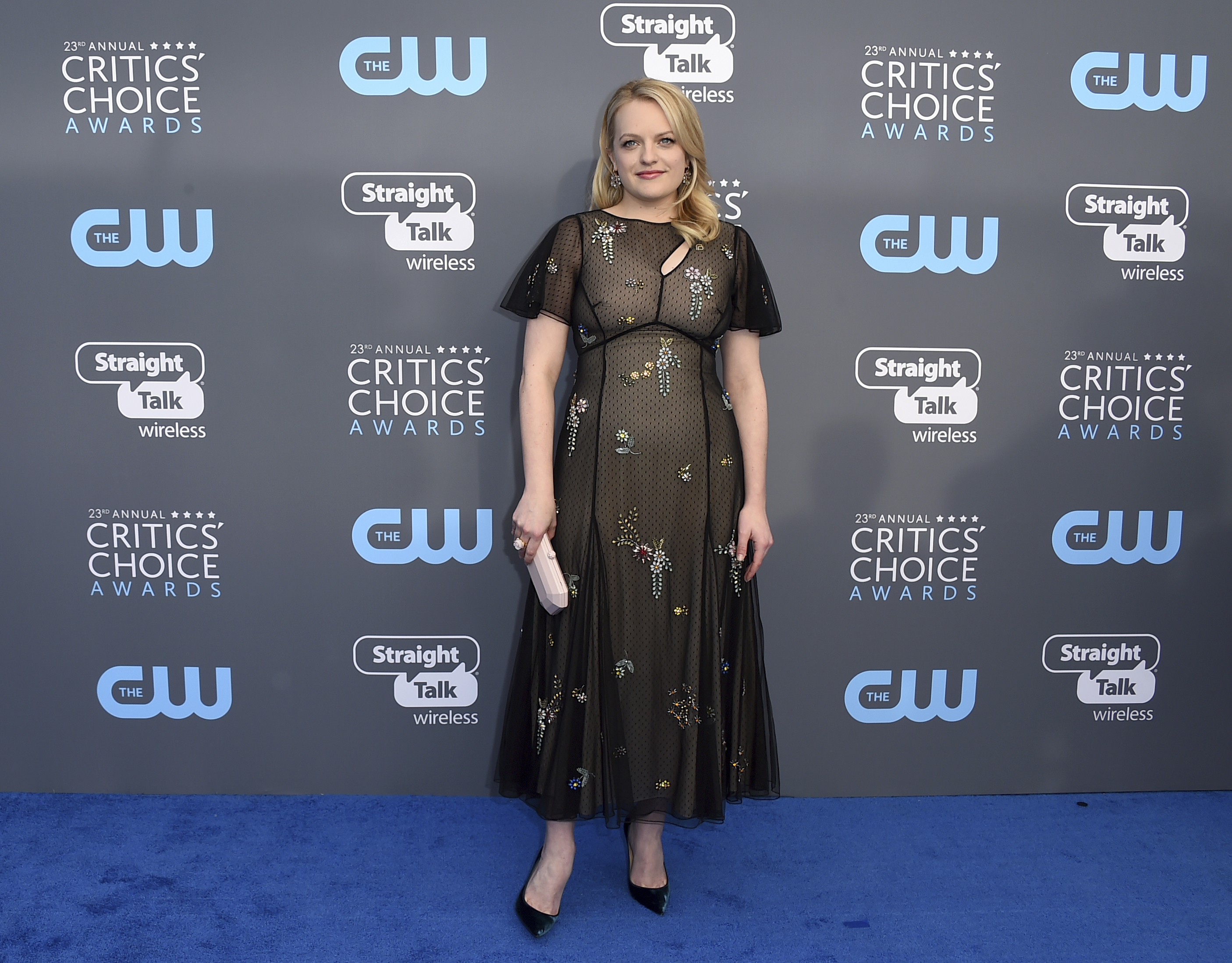 <div class='meta'><div class='origin-logo' data-origin='AP'></div><span class='caption-text' data-credit='Jordan Strauss/Invision/AP'>Elisabeth Moss arrives at the 23rd annual Critics' Choice Awards at the Barker Hangar on Thursday, Jan. 11, 2018, in Santa Monica, Calif.</span></div>