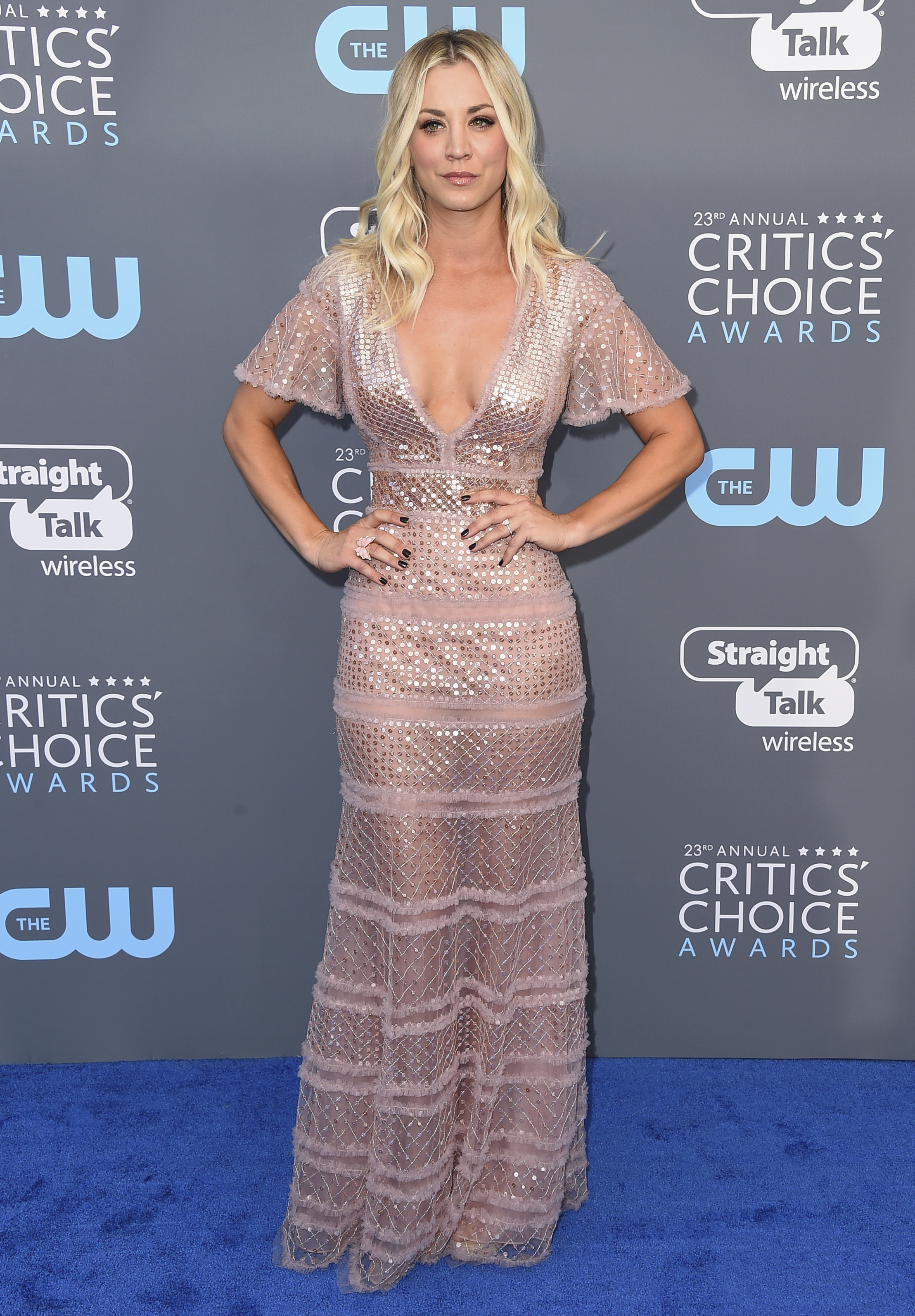 <div class='meta'><div class='origin-logo' data-origin='AP'></div><span class='caption-text' data-credit='Jordan Strauss/Invision/AP'>Kaley Cuoco arrives at the 23rd annual Critics' Choice Awards at the Barker Hangar on Thursday, Jan. 11, 2018, in Santa Monica, Calif.</span></div>