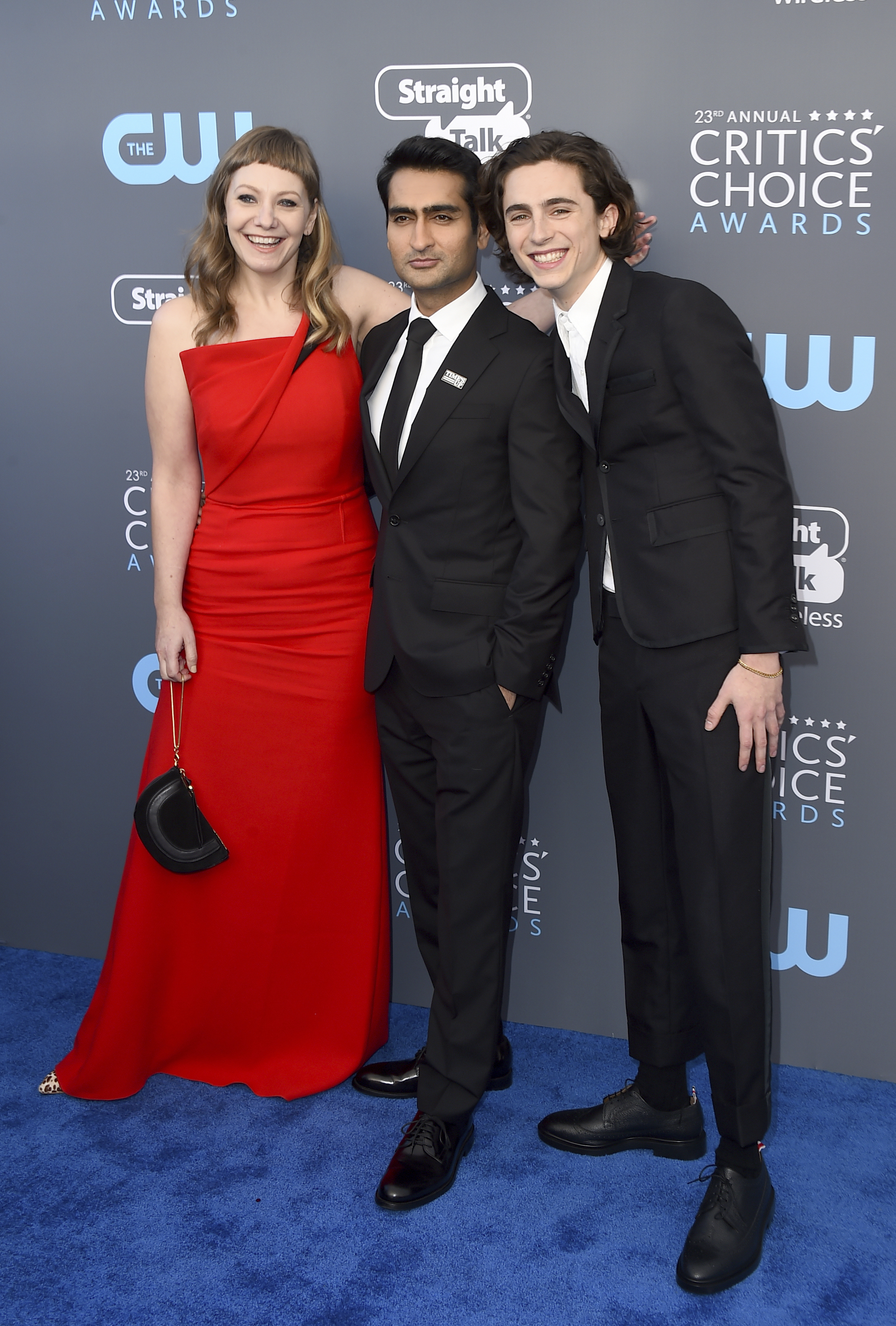 <div class='meta'><div class='origin-logo' data-origin='AP'></div><span class='caption-text' data-credit='Jordan Strauss/Invision/AP'>Emily V. Gordon, from left, Kumail Nanjiani, and Timothee Chalamet arrive at the 23rd annual Critics' Choice Awards at the Barker Hangar on Thursday, Jan. 11, 2018.</span></div>