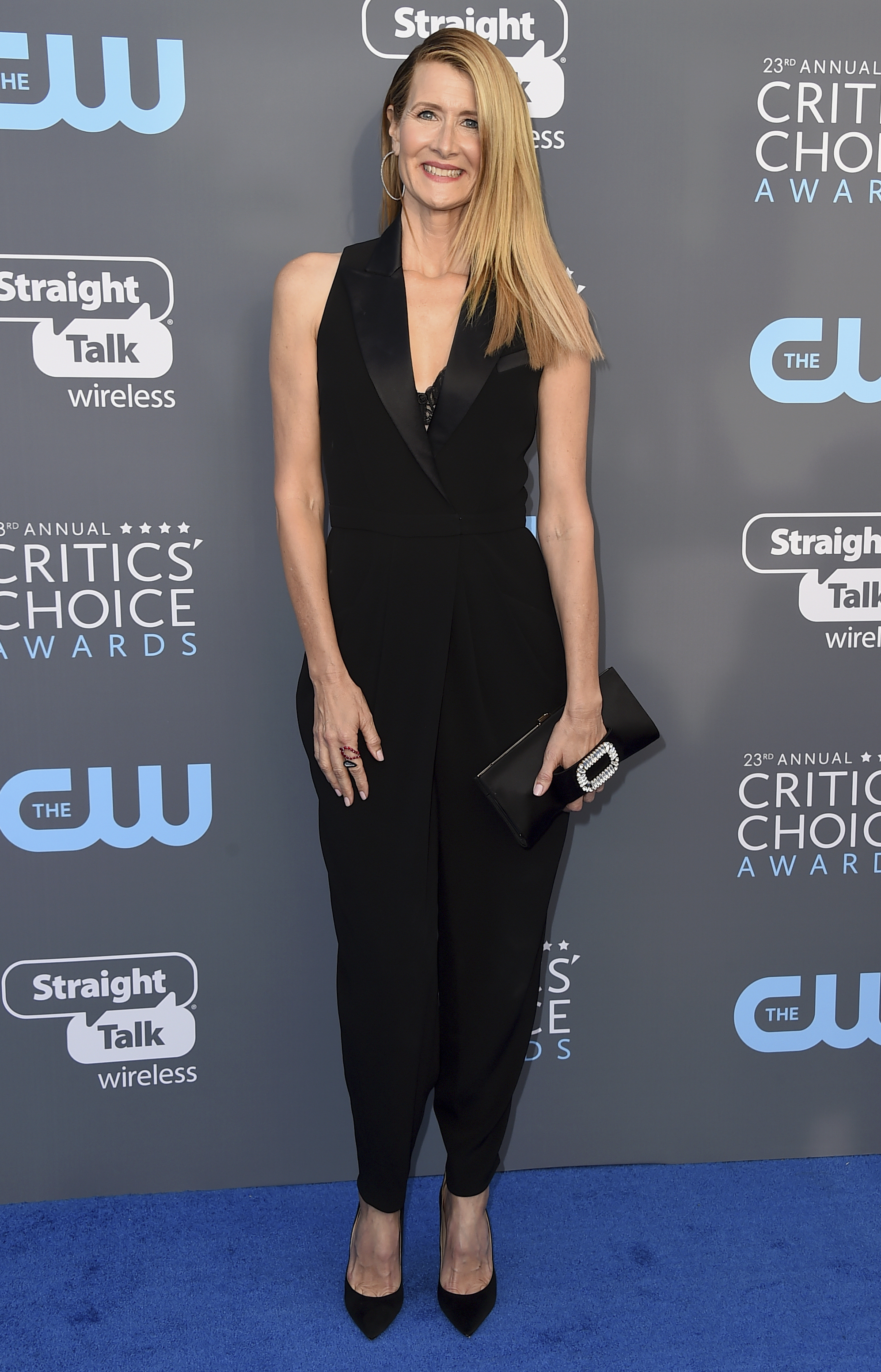<div class='meta'><div class='origin-logo' data-origin='AP'></div><span class='caption-text' data-credit='Jordan Strauss/Invision/AP'>Laura Dern arrives at the 23rd annual Critics' Choice Awards at the Barker Hangar on Thursday, Jan. 11, 2018, in Santa Monica, Calif.</span></div>