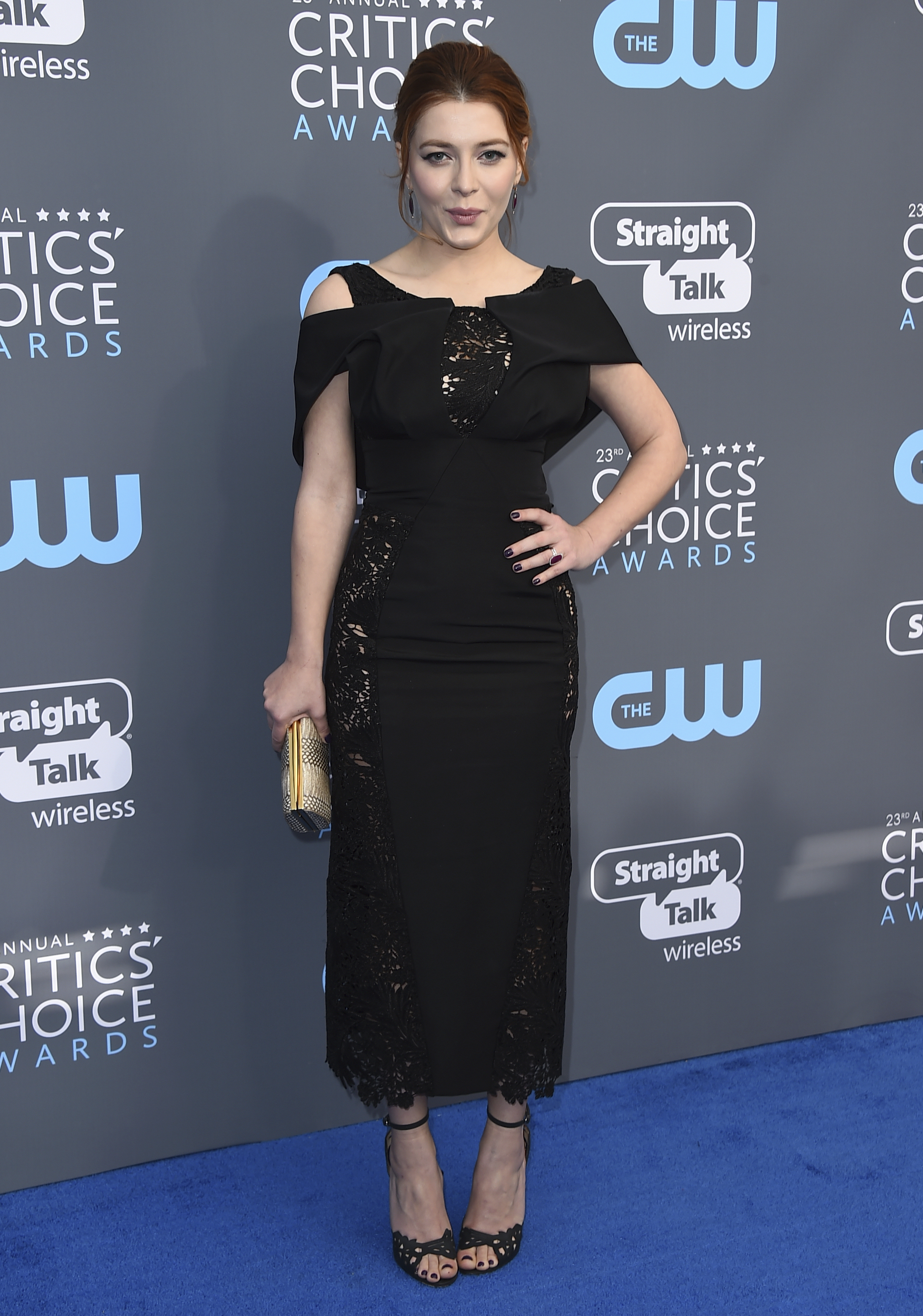 <div class='meta'><div class='origin-logo' data-origin='AP'></div><span class='caption-text' data-credit='Jordan Strauss/Invision/AP'>Elena Satine arrives at the 23rd annual Critics' Choice Awards at the Barker Hangar on Thursday, Jan. 11, 2018, in Santa Monica, Calif.</span></div>