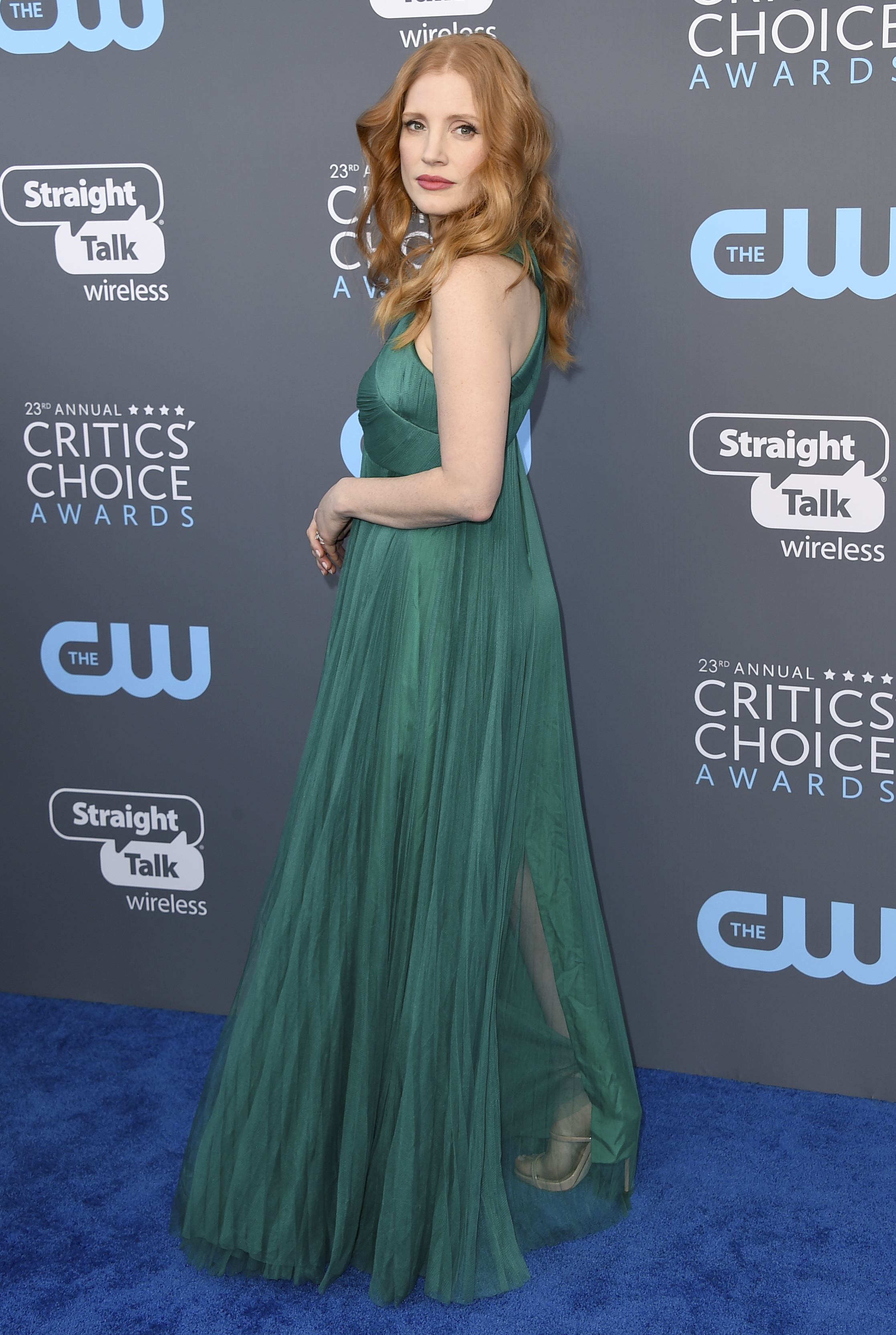 <div class='meta'><div class='origin-logo' data-origin='AP'></div><span class='caption-text' data-credit='Jordan Strauss/Invision/AP'>Jessica Chastain arrives at the 23rd annual Critics' Choice Awards at the Barker Hangar on Thursday, Jan. 11, 2018, in Santa Monica, Calif.</span></div>