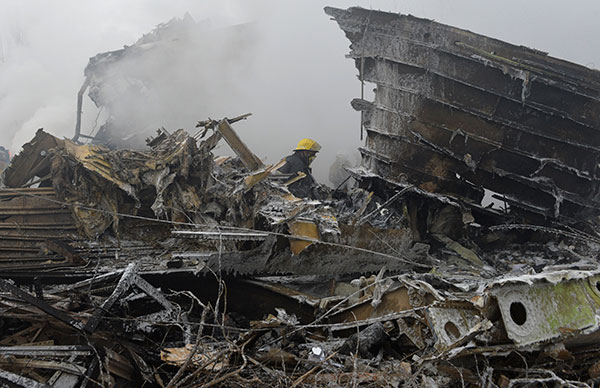 <div class='meta'><div class='origin-logo' data-origin='none'></div><span class='caption-text' data-credit='Vladimir Voronin/AP Photo'>Firefighters work among remains of a crashed Turkish Boeing 747 cargo plane at a residential area outside Bishkek, Kyrgyzstan Monday, Jan. 16, 2017.</span></div>