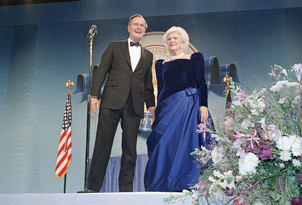 "<div class=""meta image-caption""><div class=""origin-logo origin-image none""><span>none</span></div><span class=""caption-text"">U.S. President George Bush and Mrs. Barbara Bush attend one of the Inaugural Balls, Friday, Jan. 21, 1989. (J. Scott Applewhite/AP Photo)</span></div>"
