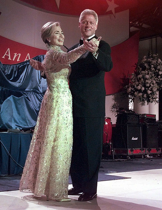 <div class='meta'><div class='origin-logo' data-origin='none'></div><span class='caption-text' data-credit='J. Scott Applewhite/AP Photo'>President Clinton and his wife, first lady Hillary Clinton, dance at the New England Ball Monday, Jan. 20, 1997, in Washington.</span></div>