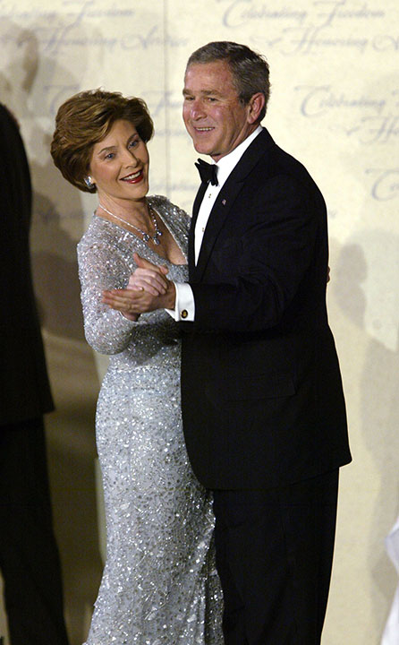 "<div class=""meta image-caption""><div class=""origin-logo origin-image none""><span>none</span></div><span class=""caption-text"">President Bush and first lady Laura Bush dance at the Freedom Ball during inauguration festivies in Washington Thursday, Jan. 20, 2005. (Paul Sancya/AP Photo)</span></div>"