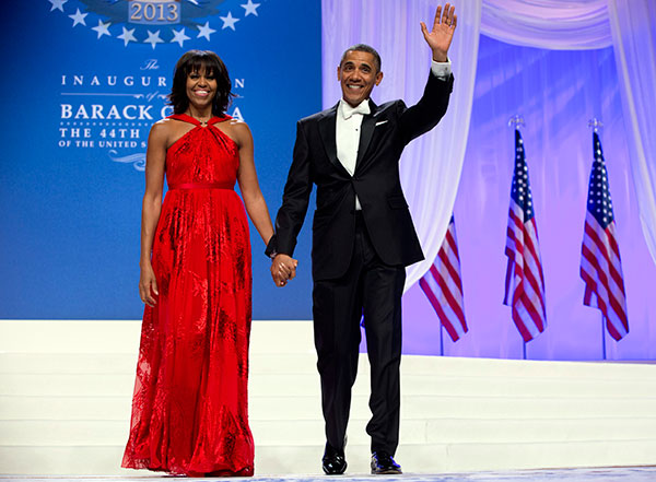 <div class='meta'><div class='origin-logo' data-origin='none'></div><span class='caption-text' data-credit='Carolyn Kaster/AP Photo'>President Barack Obama and first lady Michelle Obama arrive to dance together at an Inaugural Ball, Monday, Jan. 21, 2013, at the Washington Convention Center.</span></div>