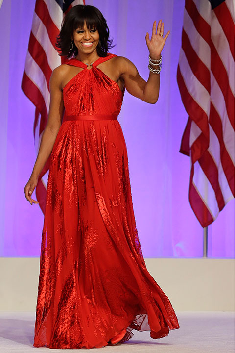 <div class='meta'><div class='origin-logo' data-origin='none'></div><span class='caption-text' data-credit='Jacquelyn Martin/AP Photo'>First lady Michelle Obama arrives at the Commander-in-Chief's Inaugural Ball in Washington on Monday, Jan. 21, 2013.</span></div>