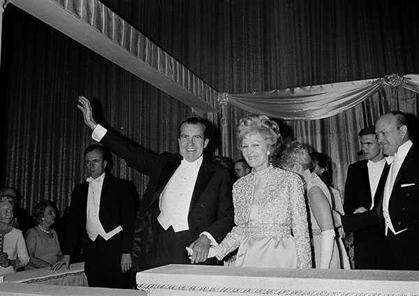 <div class='meta'><div class='origin-logo' data-origin='none'></div><span class='caption-text' data-credit='AP Photo'>President Nixon and his wife Pat hold hands as they greet at the Shoreham Hotel Inaugural Ball in Washington, D.C., Jan. 20, 1969.</span></div>