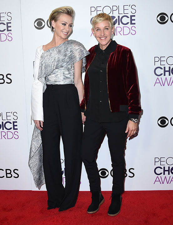 "<div class=""meta image-caption""><div class=""origin-logo origin-image none""><span>none</span></div><span class=""caption-text"">Portia de Rossi, left, and Ellen DeGeneres, winner of the awards for favorite animated movie voice, favorite daytime TV host, and favorite comedic collaboration, pose. (Jordan Strauss/Invision/AP)</span></div>"