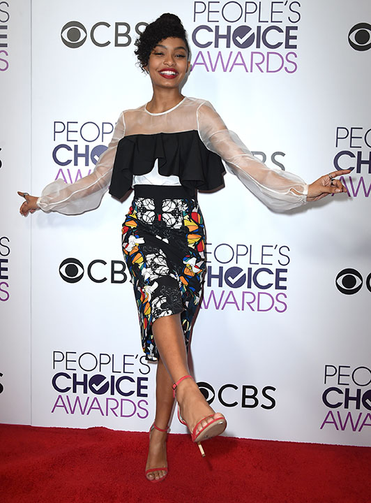 "<div class=""meta image-caption""><div class=""origin-logo origin-image none""><span>none</span></div><span class=""caption-text"">Yara Shahidi poses in the press room at the People's Choice Awards at the Microsoft Theater on Wednesday, Jan. 18, 2017, in Los Angeles. (Jordan Strauss/Invision/AP)</span></div>"